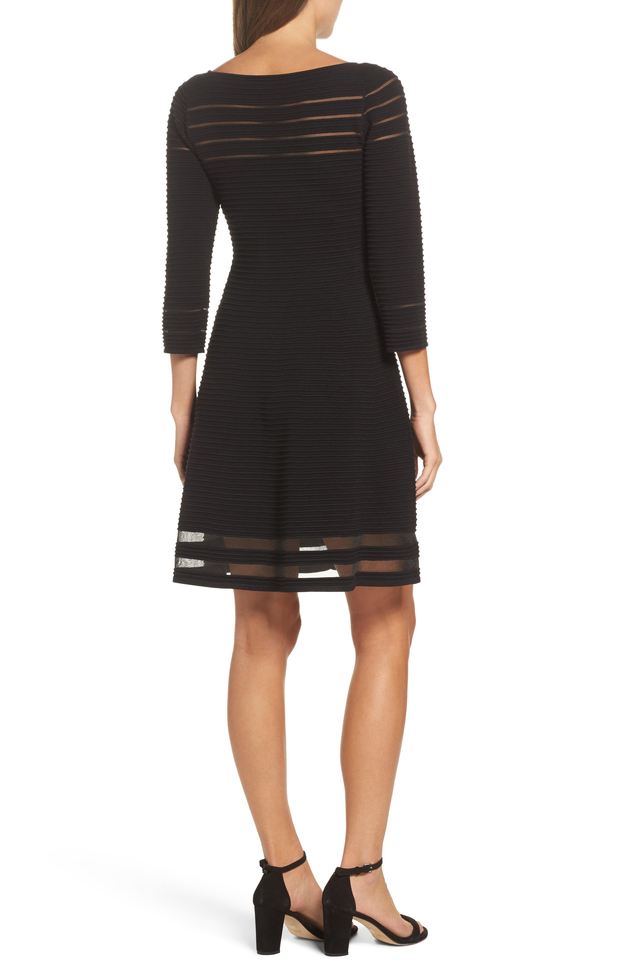 Mesh Fit & Flare Dress,                             Alternate thumbnail 2, color,                             BLACK