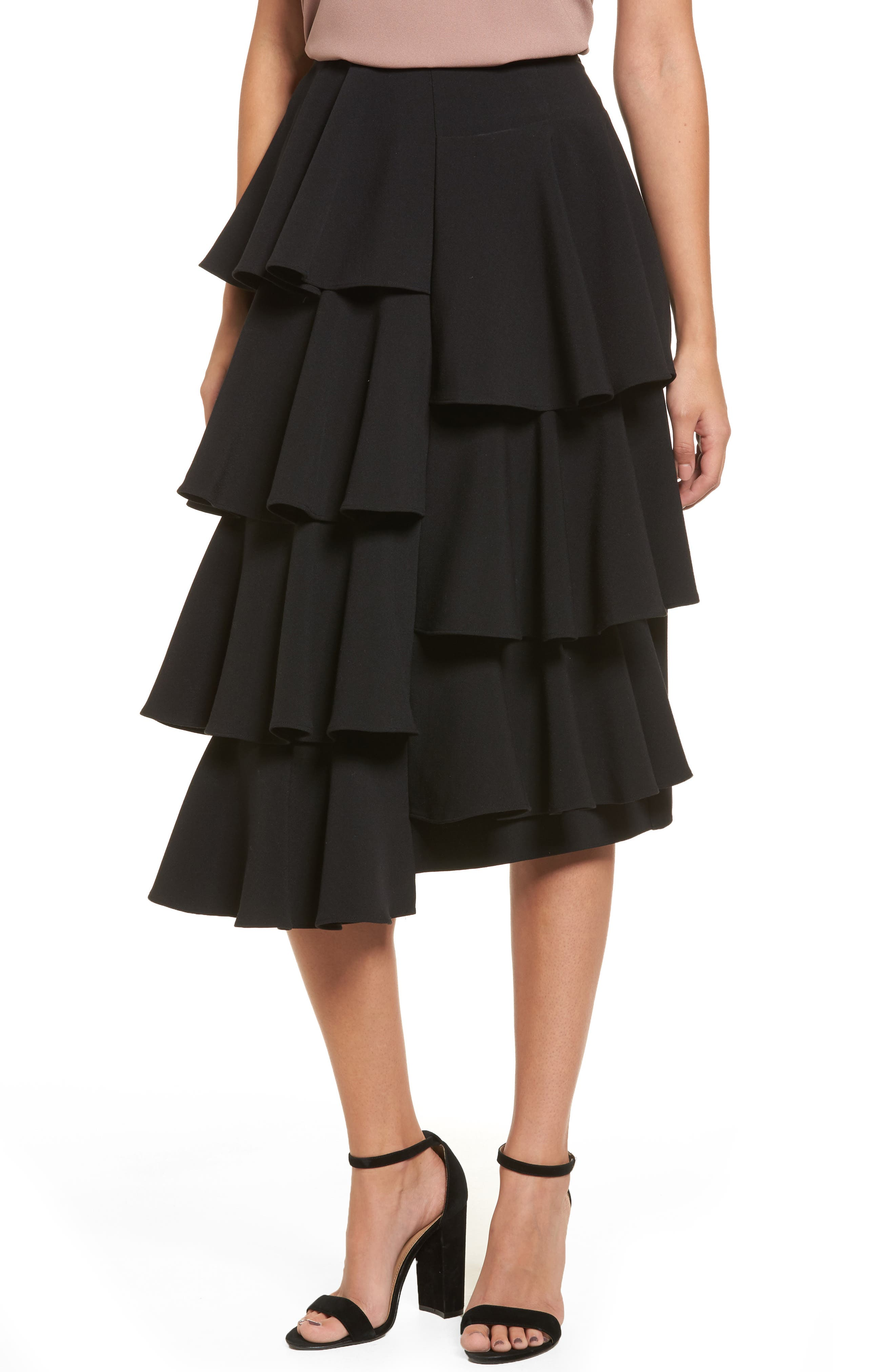 Tiered Ruffle Midi Skirt,                         Main,                         color, 001