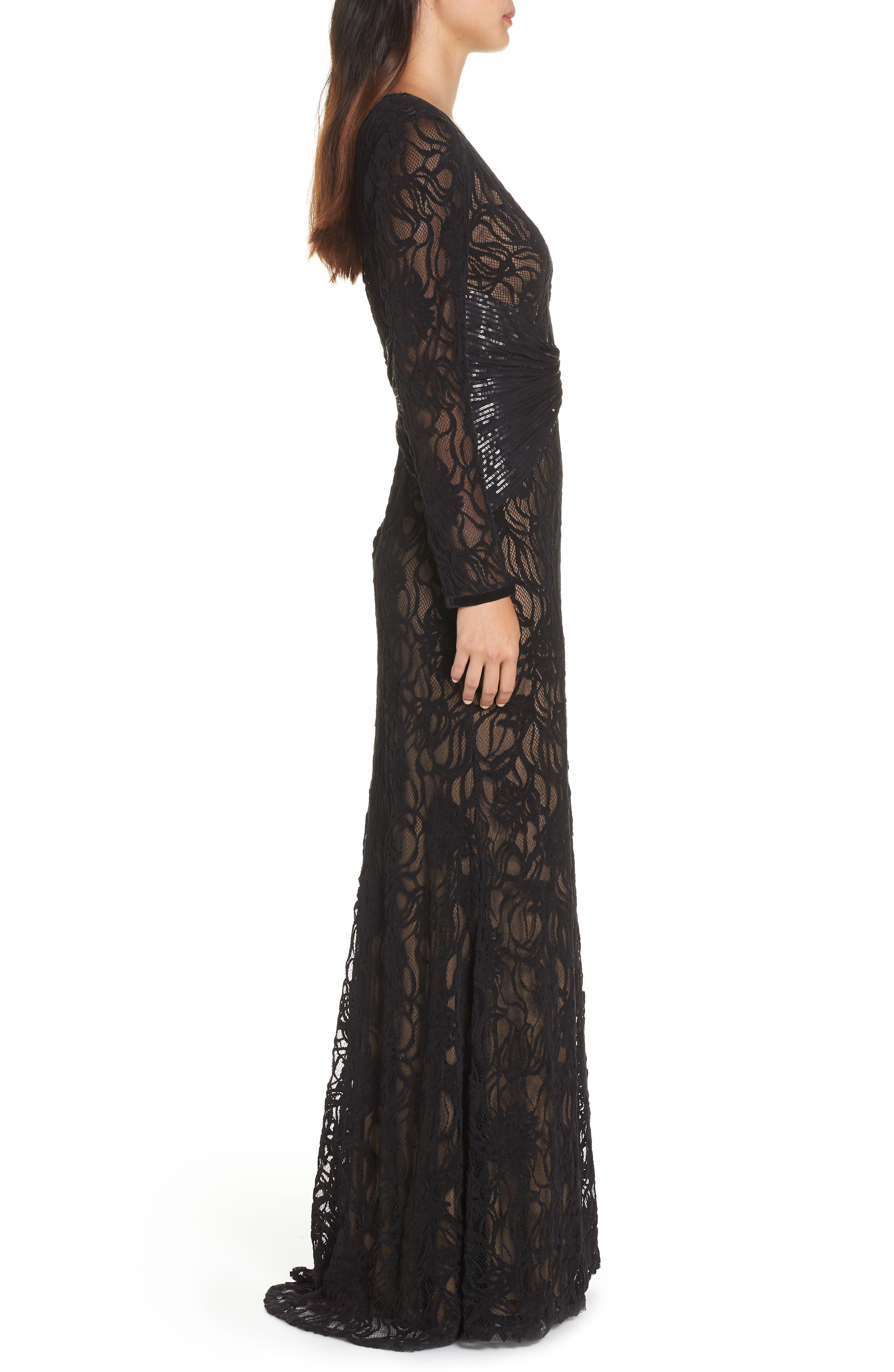 Burnout Lace Gown,                             Alternate thumbnail 3, color,                             BLACK/ NUDE