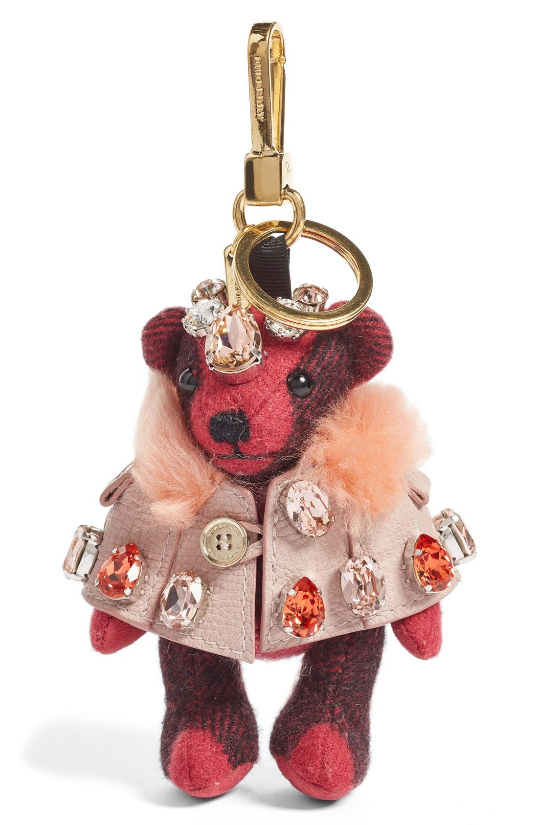 Thomas Bear Bag Charm with Genuine Shearling Trim Cape & Crystals,                             Alternate thumbnail 2, color,