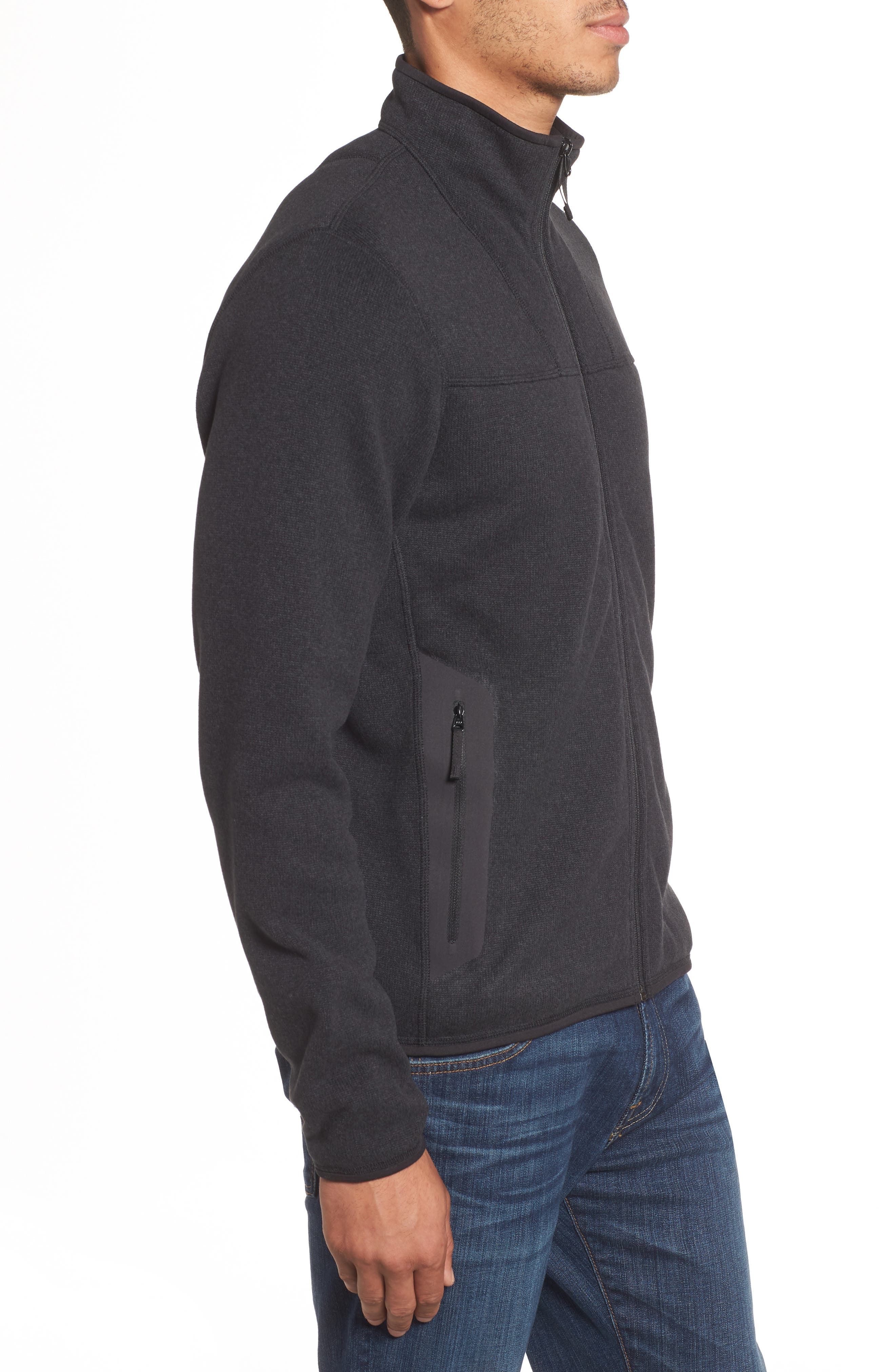 'Covert' Relaxed Fit Technical Fleece Zip Jacket,                             Alternate thumbnail 3, color,                             BLACK HEATHER