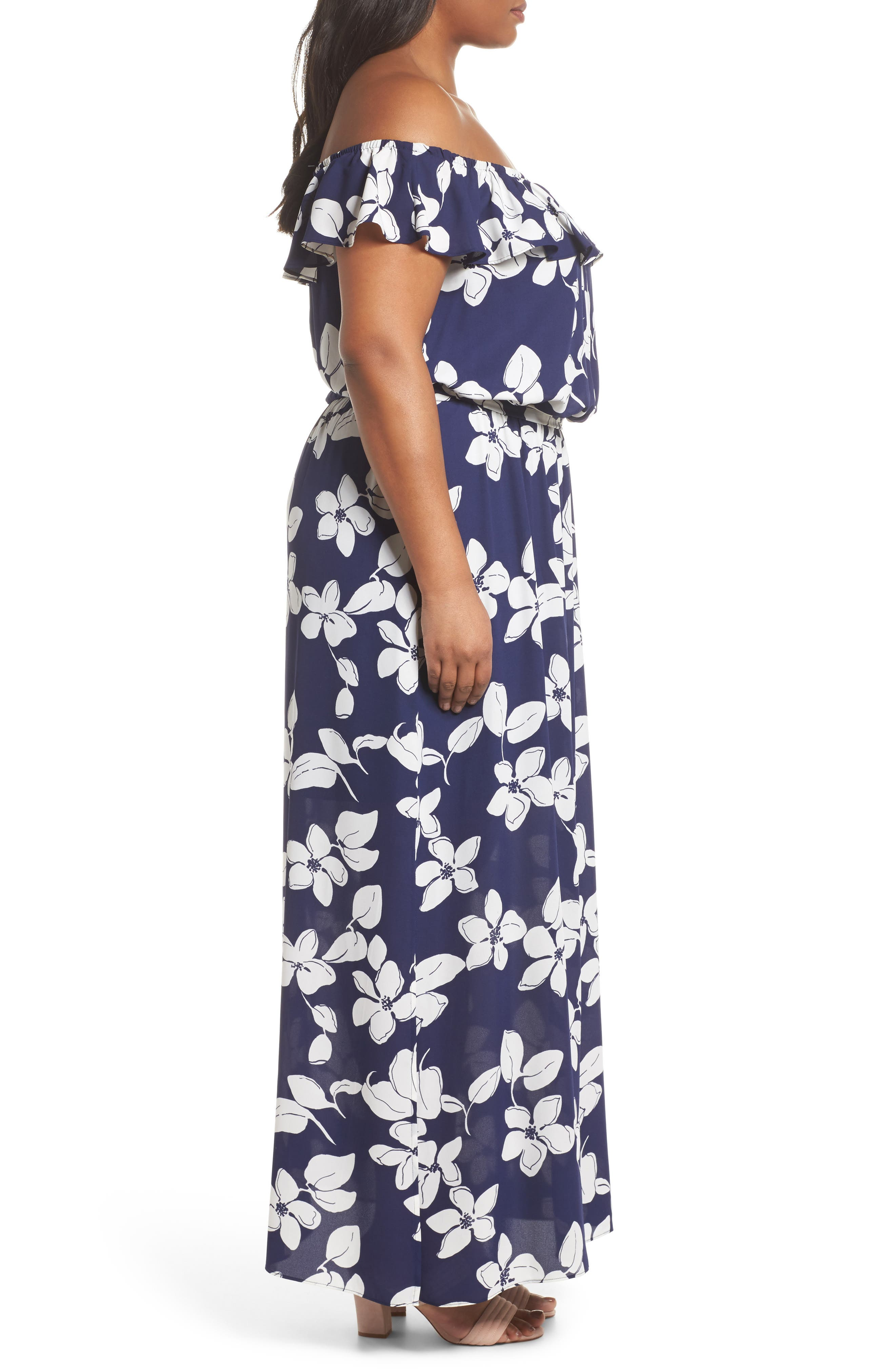 ADRIANNA PAPELL,                             Simple Delight Ruffle Maxi Dress,                             Alternate thumbnail 3, color,                             480