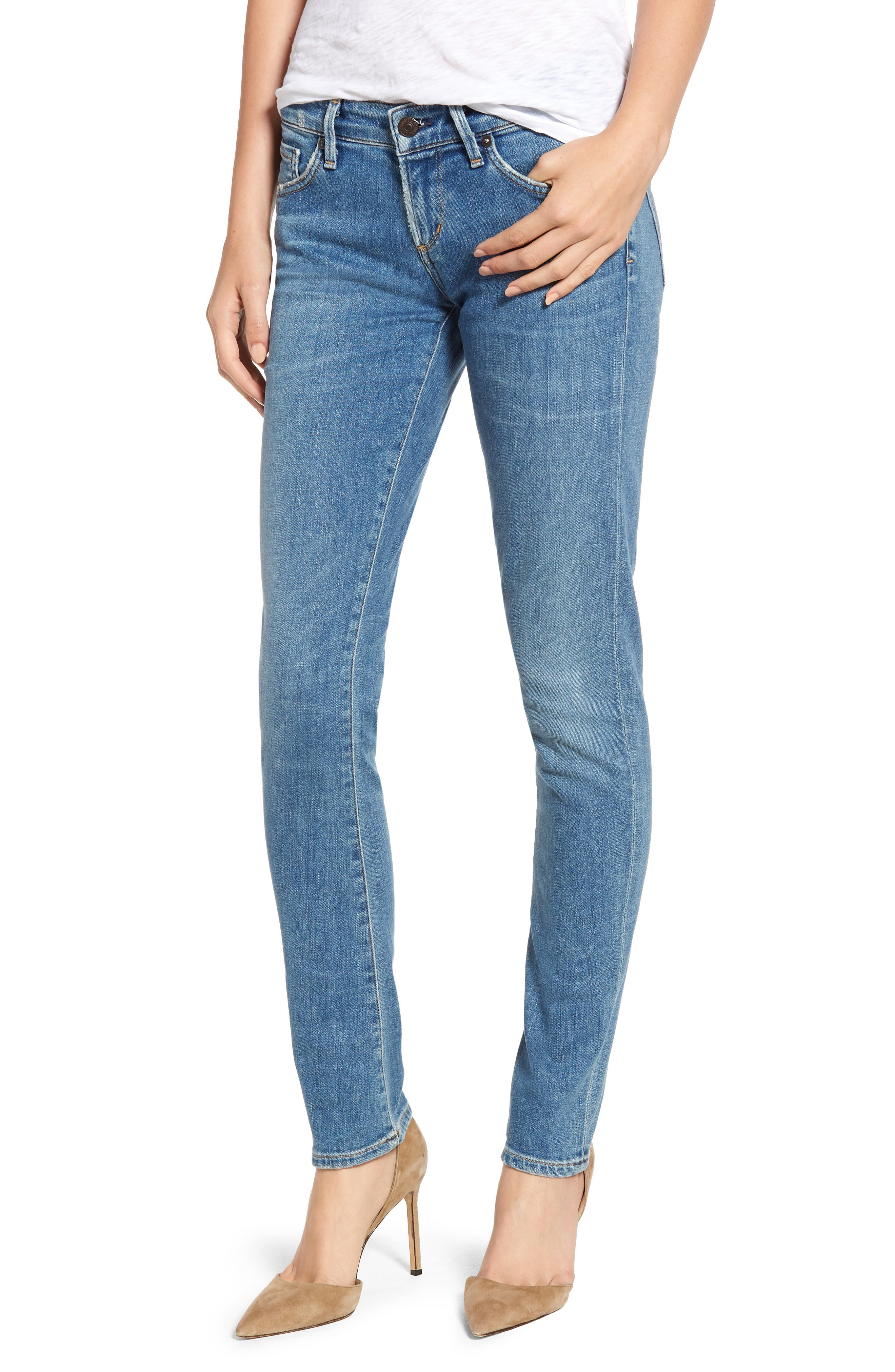 Racer Skinny Jeans, Main, color, 429