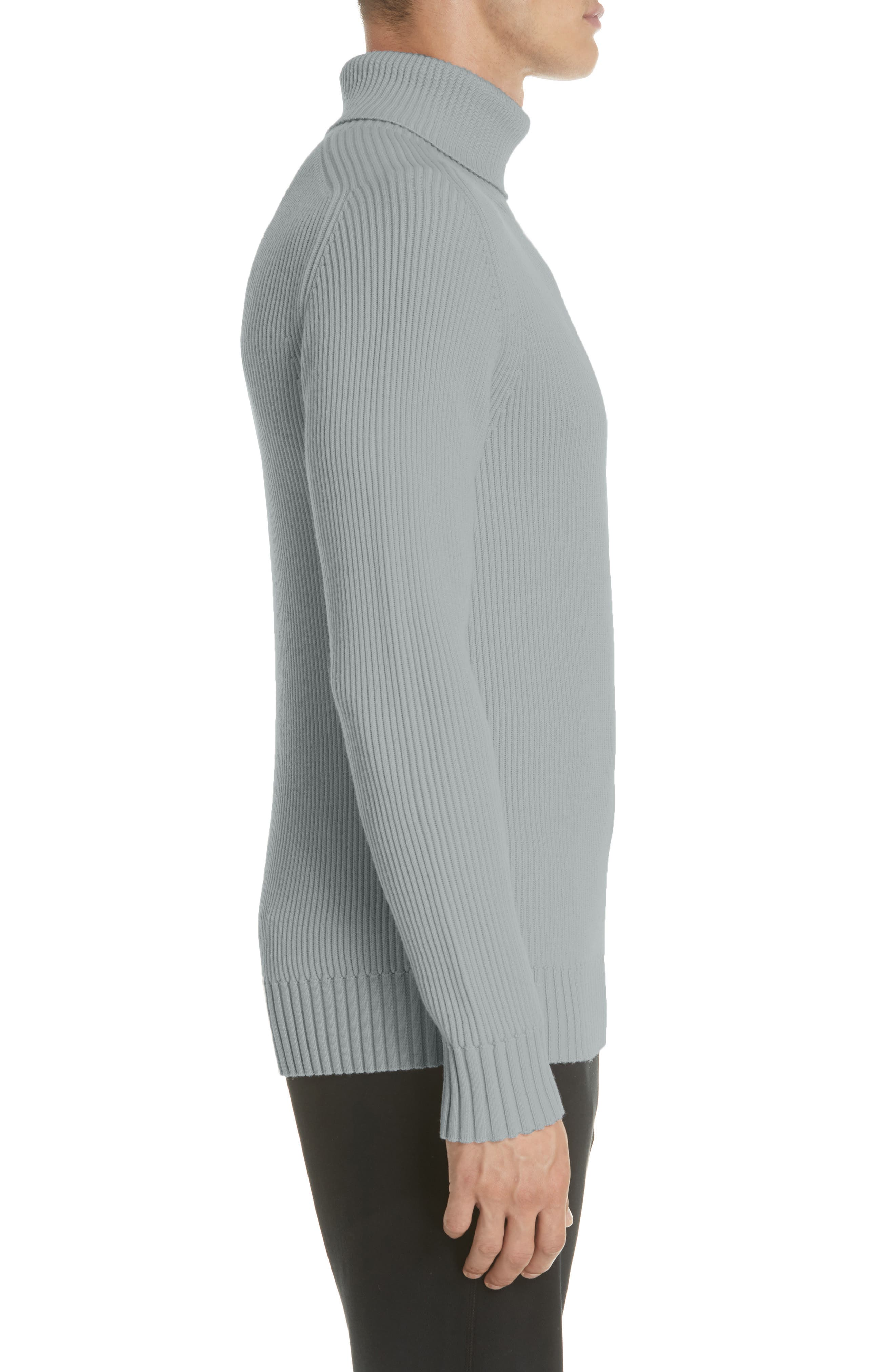 Ribbed Wool Turtleneck Sweater,                             Alternate thumbnail 3, color,                             020