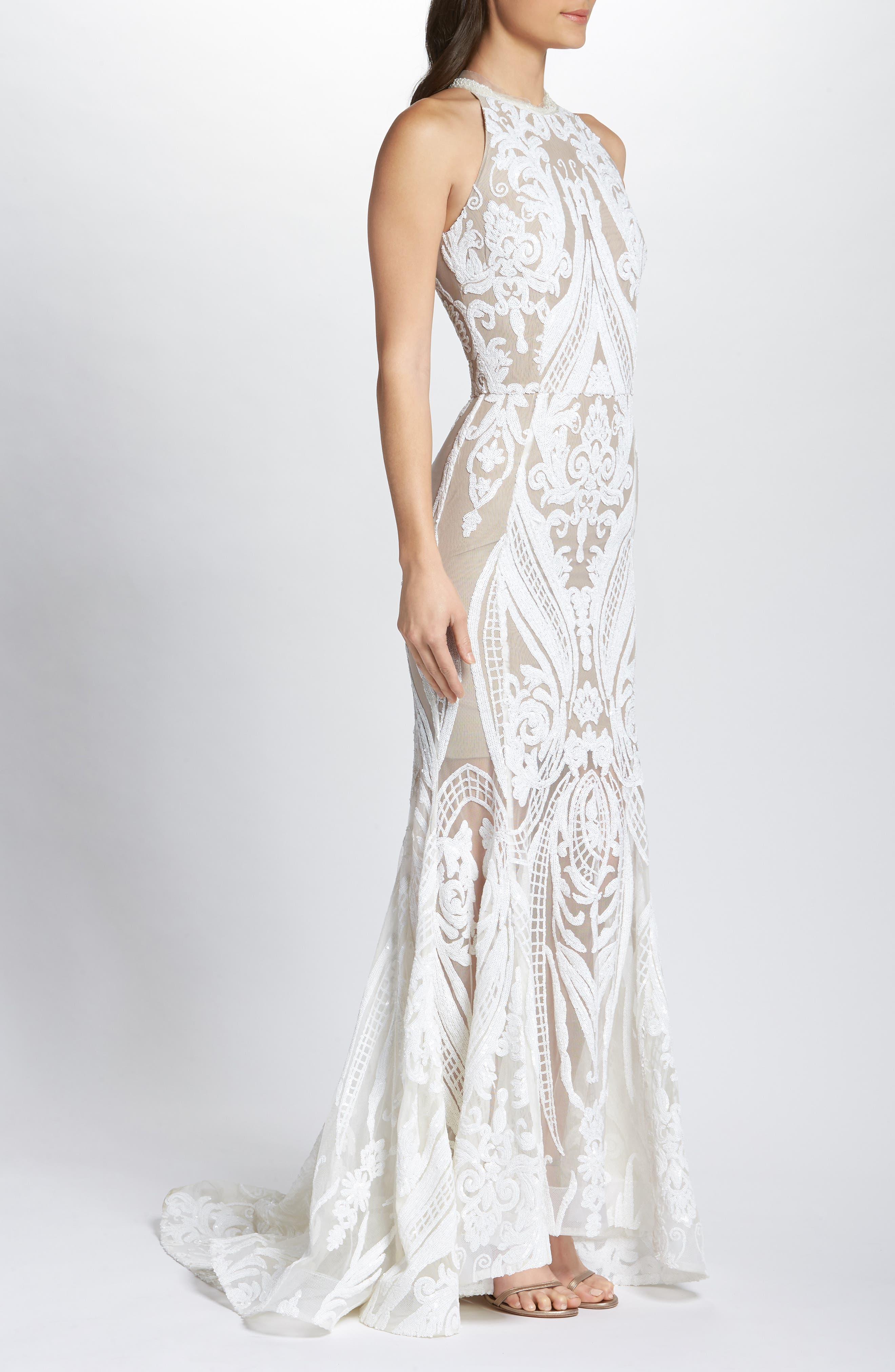 Ester Halter Mermaid Gown,                             Alternate thumbnail 3, color,                             WHITE