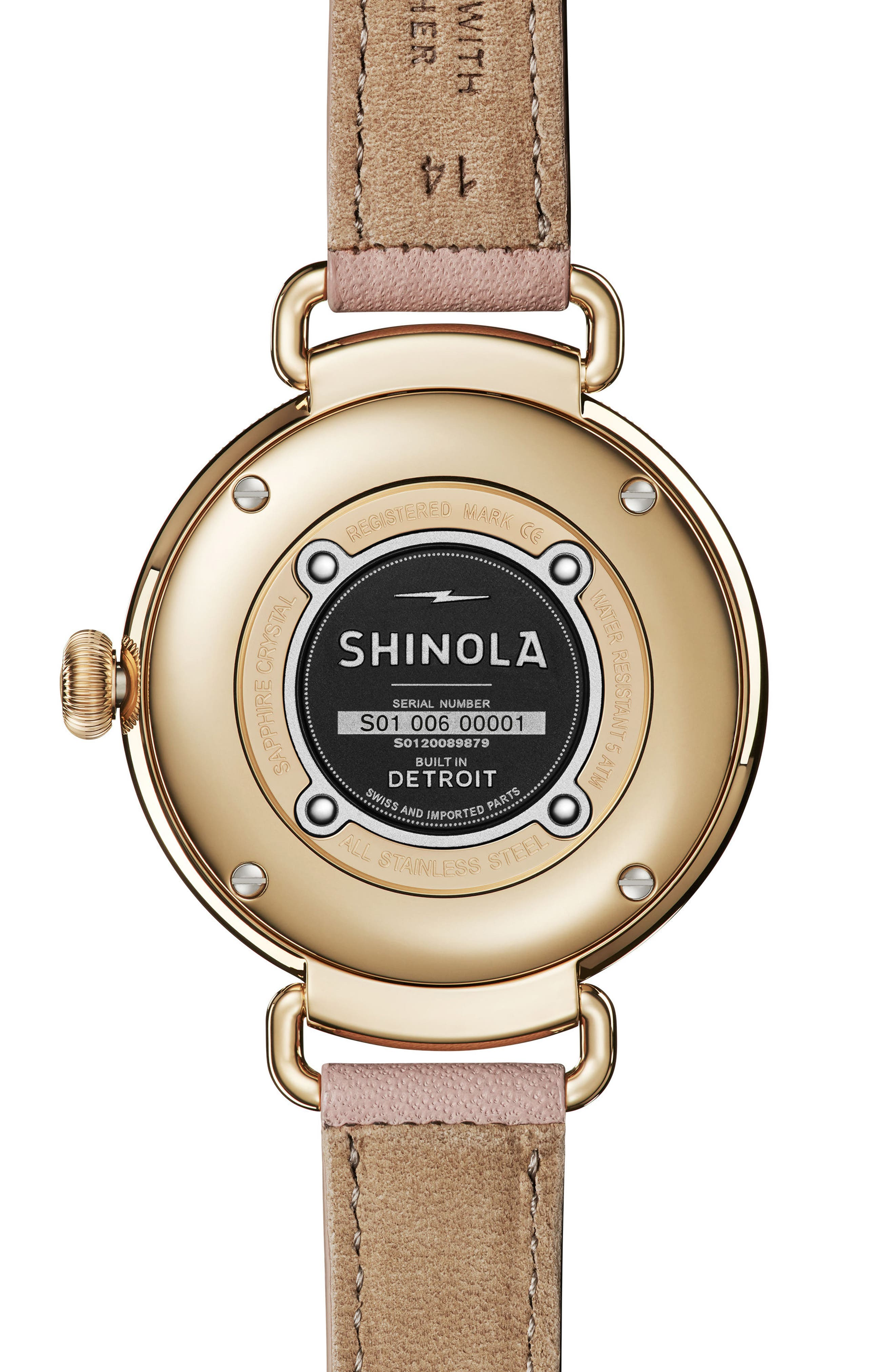 The Canfield Leather Strap Watch, 38mm,                             Alternate thumbnail 2, color,                             BLUSH/ MOP/ GOLD