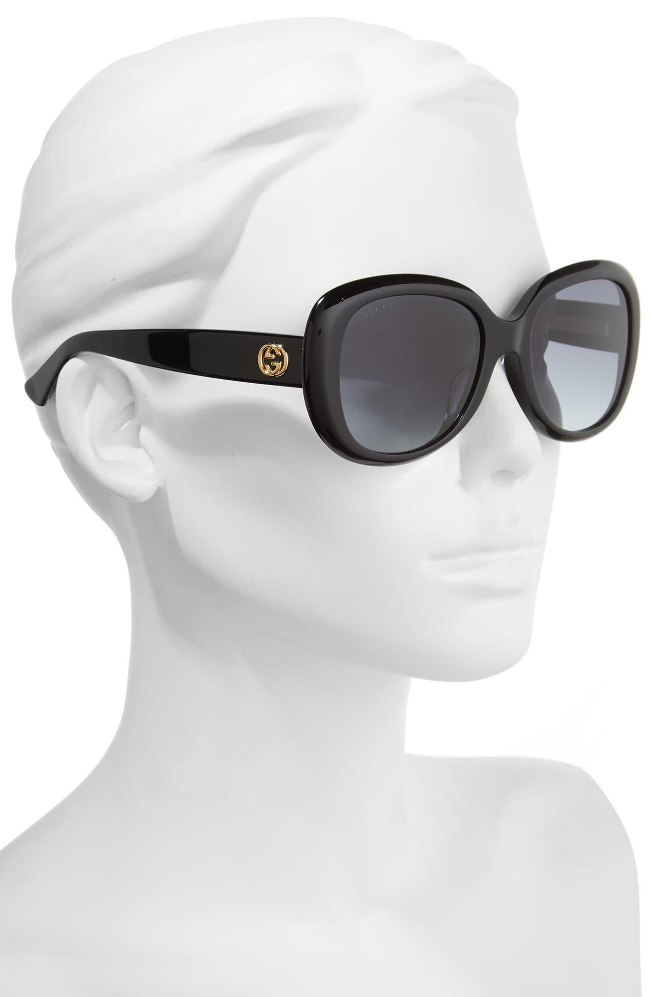 55mm Rectangular Sunglasses,                             Alternate thumbnail 2, color,                             001