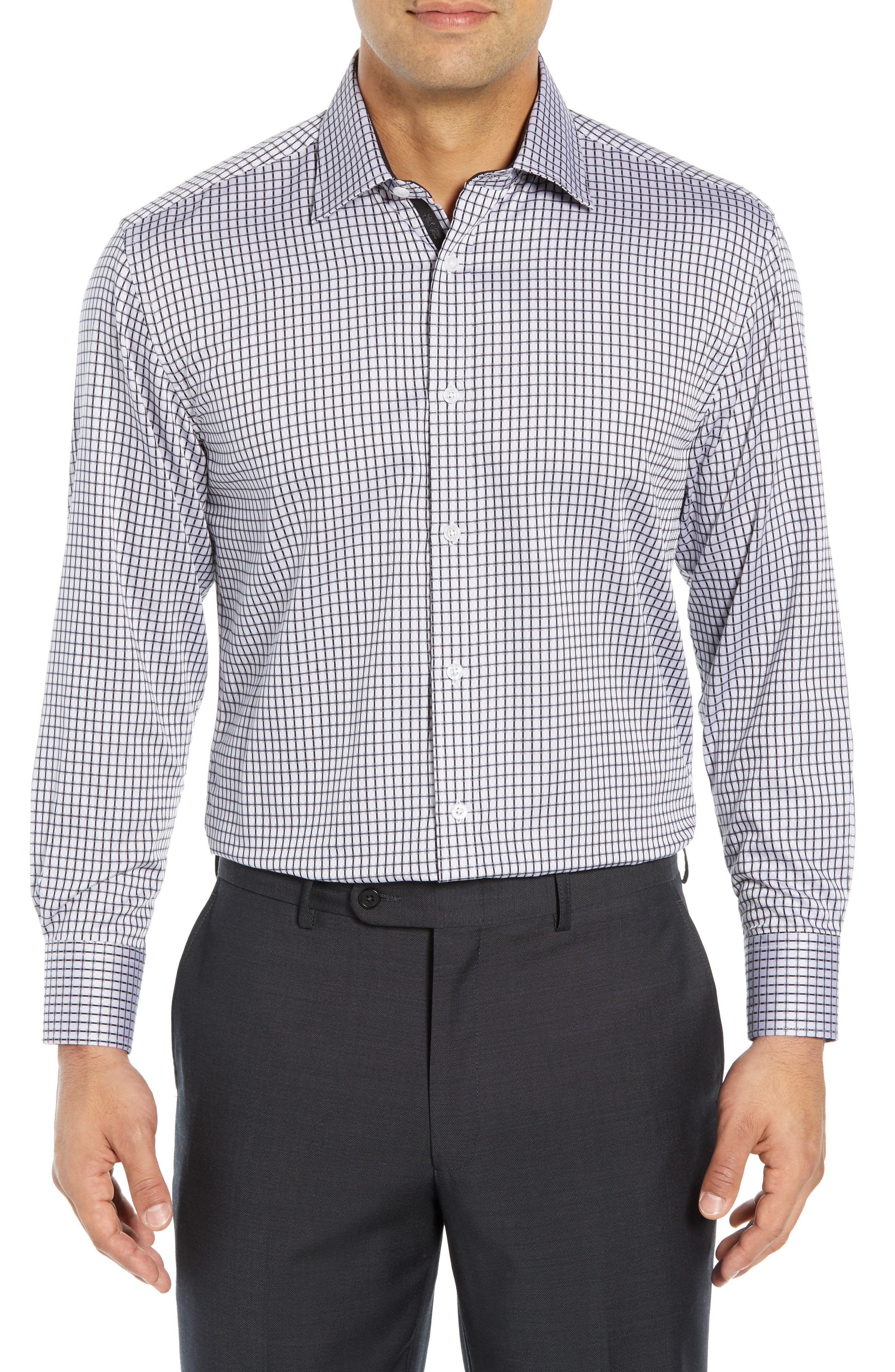 ENGLISH LAUNDRY Regular Fit Check Dress Shirt in Grey