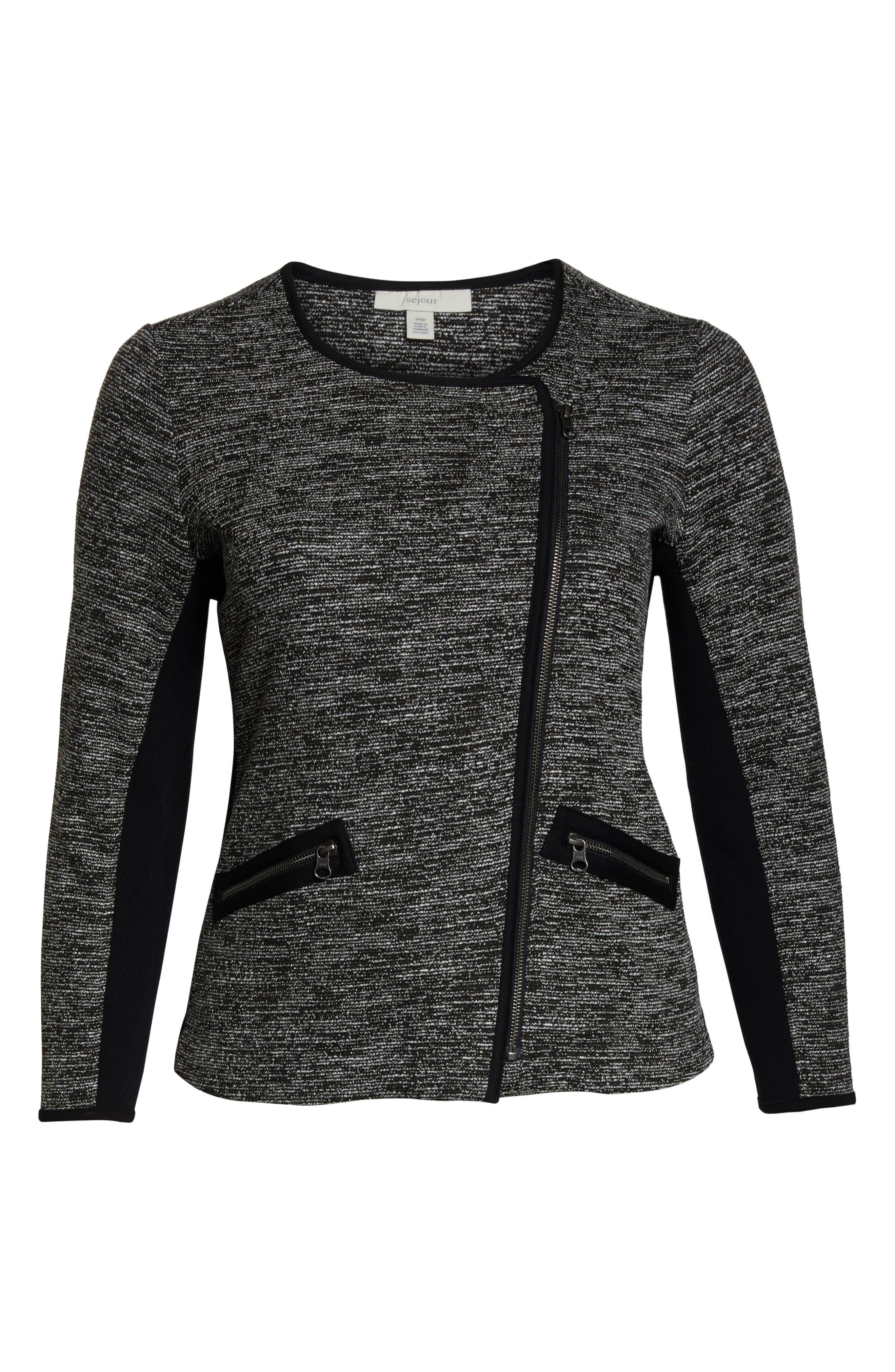 Mix Media Knit Jacket,                             Alternate thumbnail 5, color,                             BLACK TWEED