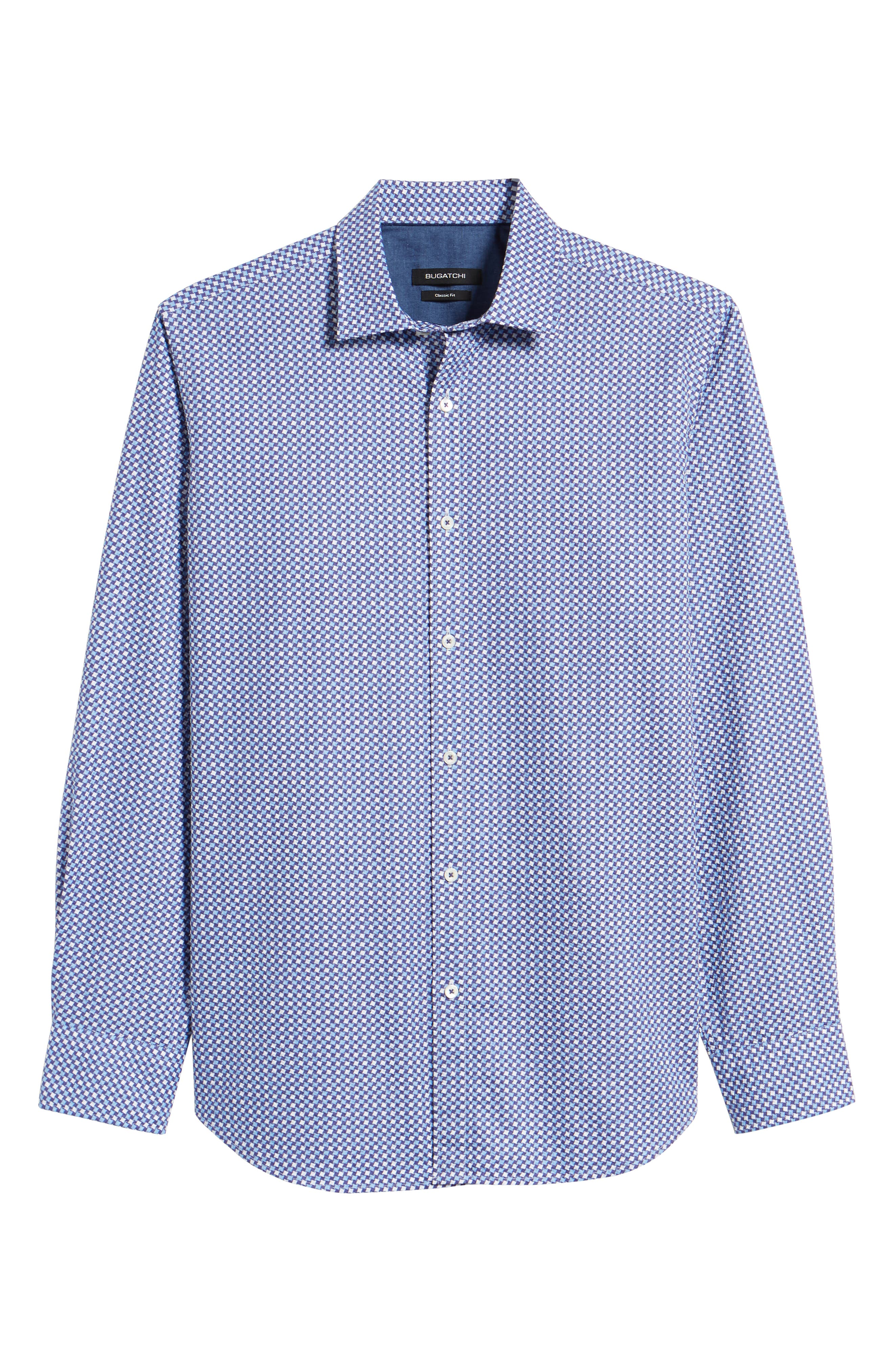 Classic Fit Print Seersucker Sport Shirt,                             Alternate thumbnail 6, color,                             CLASSIC BLUE