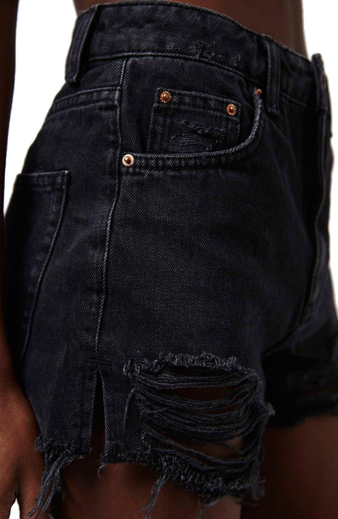 Ripped High Rise Denim Shorts,                             Alternate thumbnail 4, color,                             001