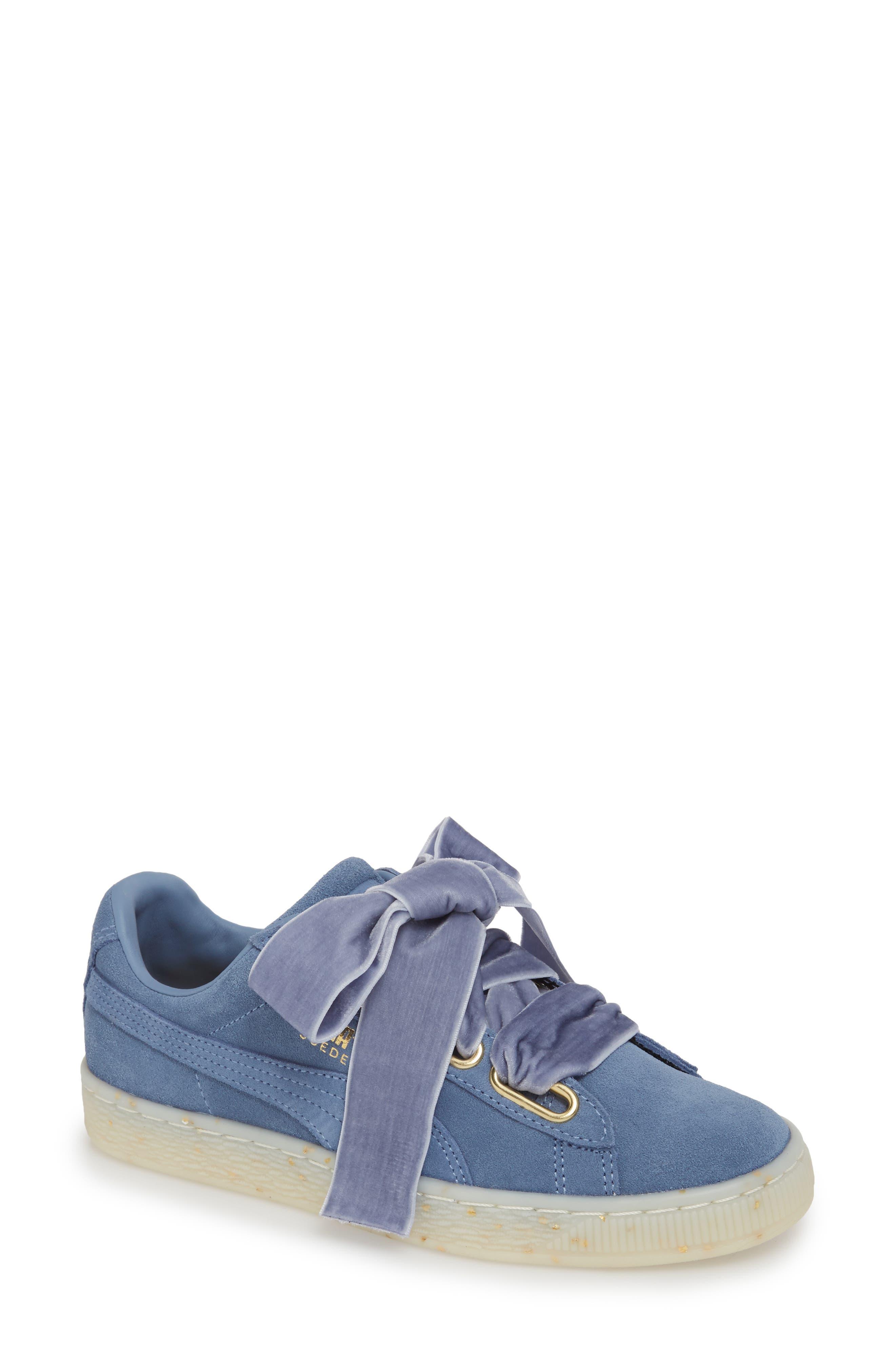Suede - Heart Sneaker,                             Main thumbnail 2, color,