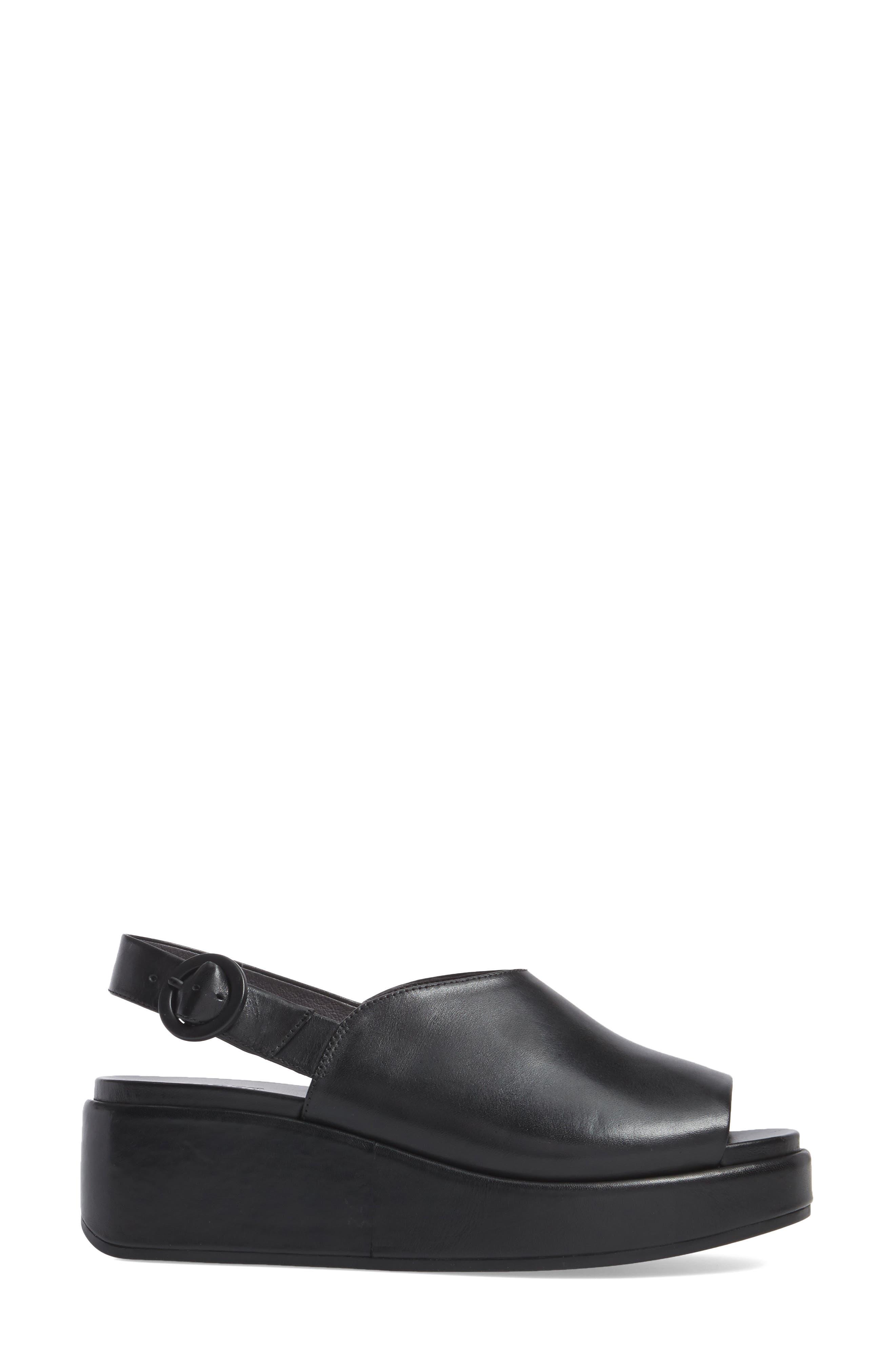 Misia Slingback Platform Wedge Sandal,                             Alternate thumbnail 3, color,                             BLACK LEATHER