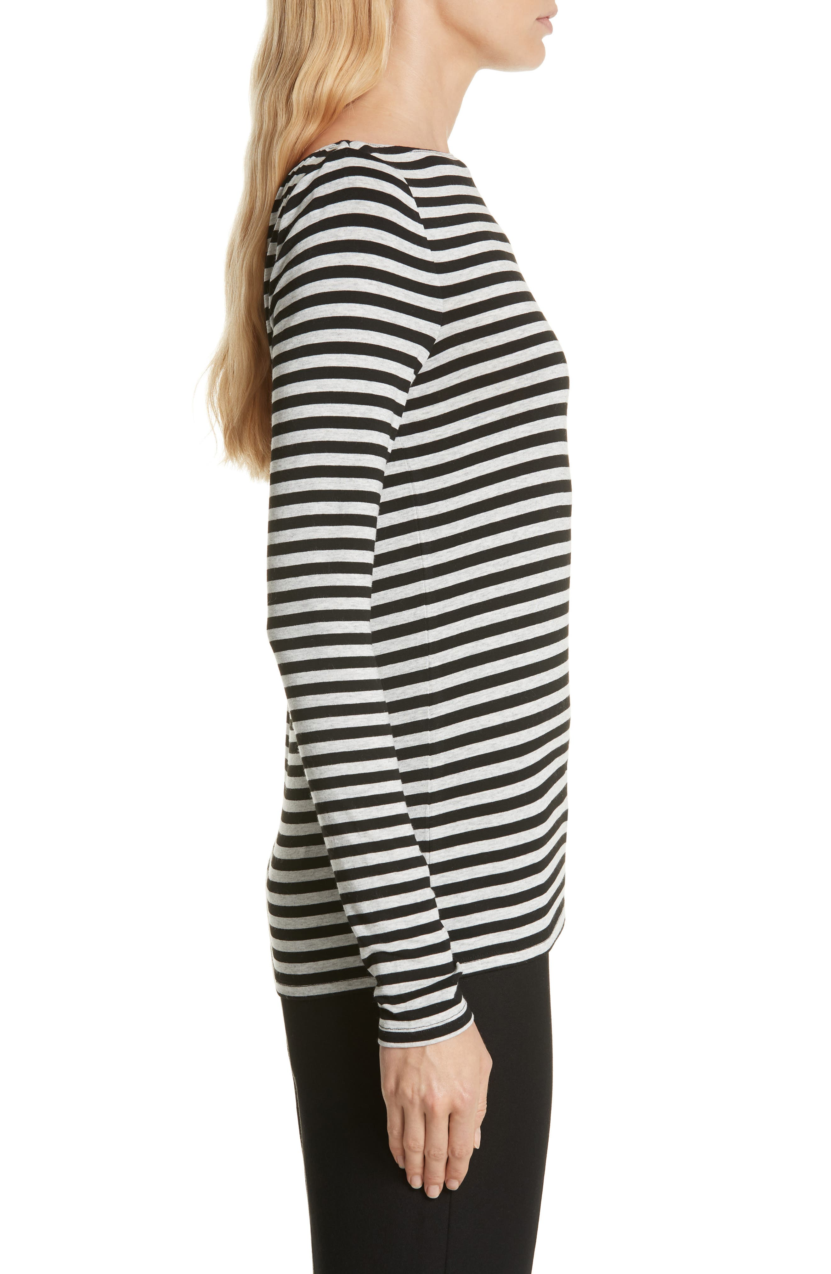 Stripe Bateau Neck Long Sleeve Tee,                             Alternate thumbnail 3, color,                             HEATHER GREY- BLACK STRIPE