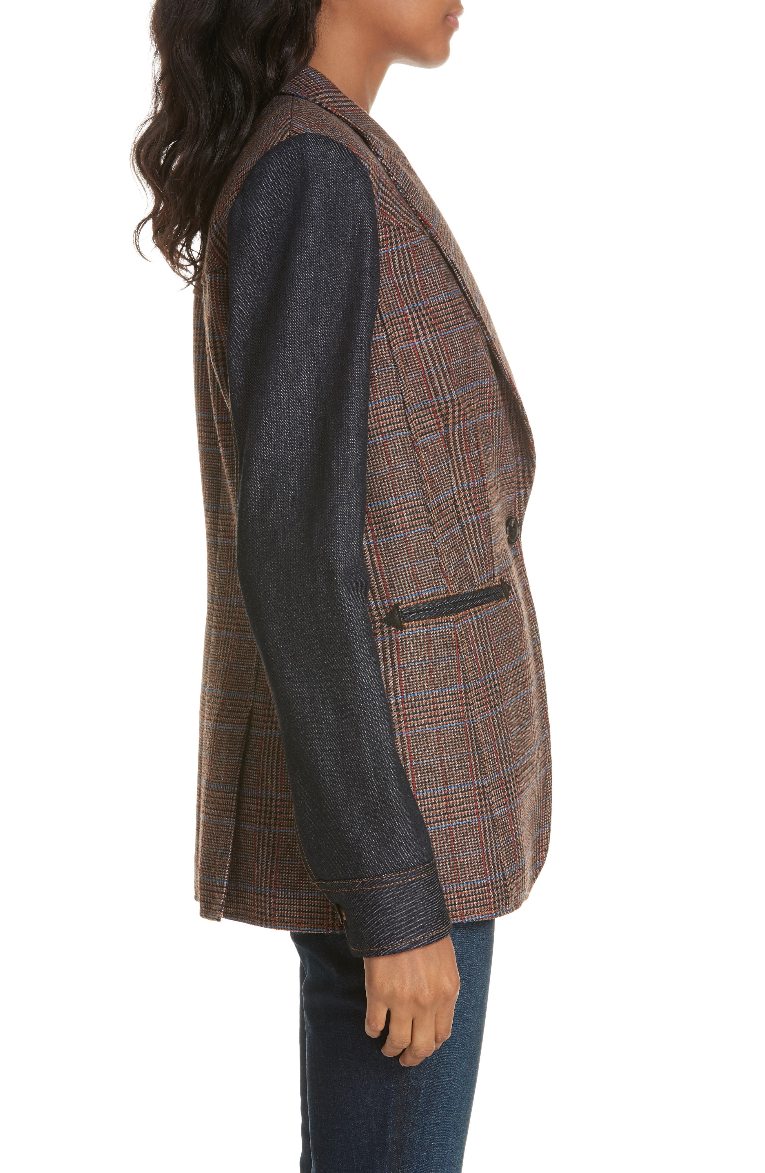 Mela Denim Sleeve Dickey Jacket,                             Alternate thumbnail 3, color,                             BROWN/ ORANGE