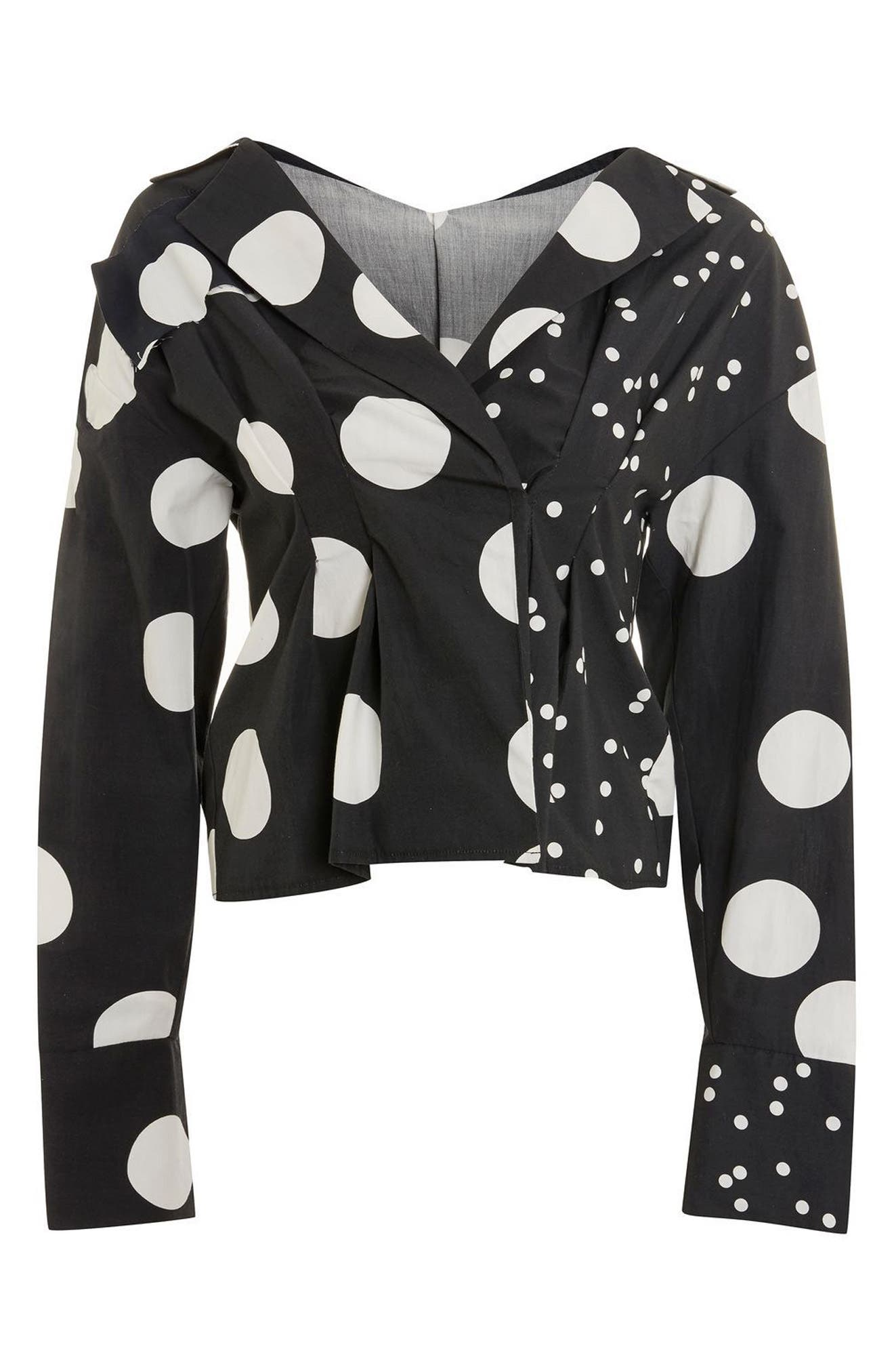Mix Match Polka Dot Blouse,                             Alternate thumbnail 3, color,                             001