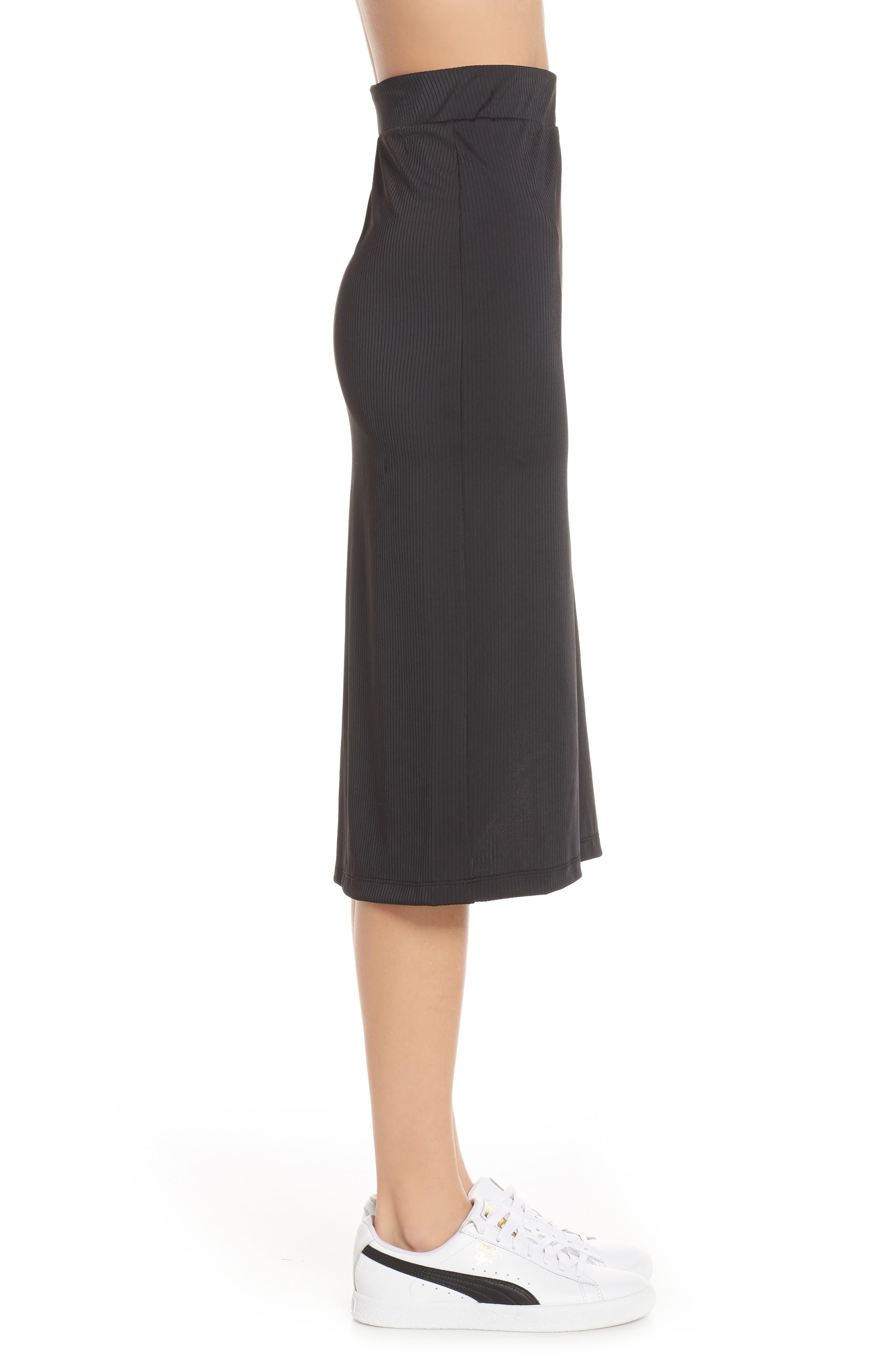 PUMA,                             Classics Ribbed Skirt,                             Alternate thumbnail 4, color,                             PUMA BLACK