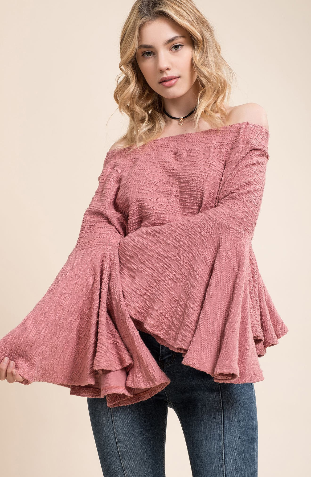 Off the Shoulder Bell Sleeve Top,                             Alternate thumbnail 7, color,                             650