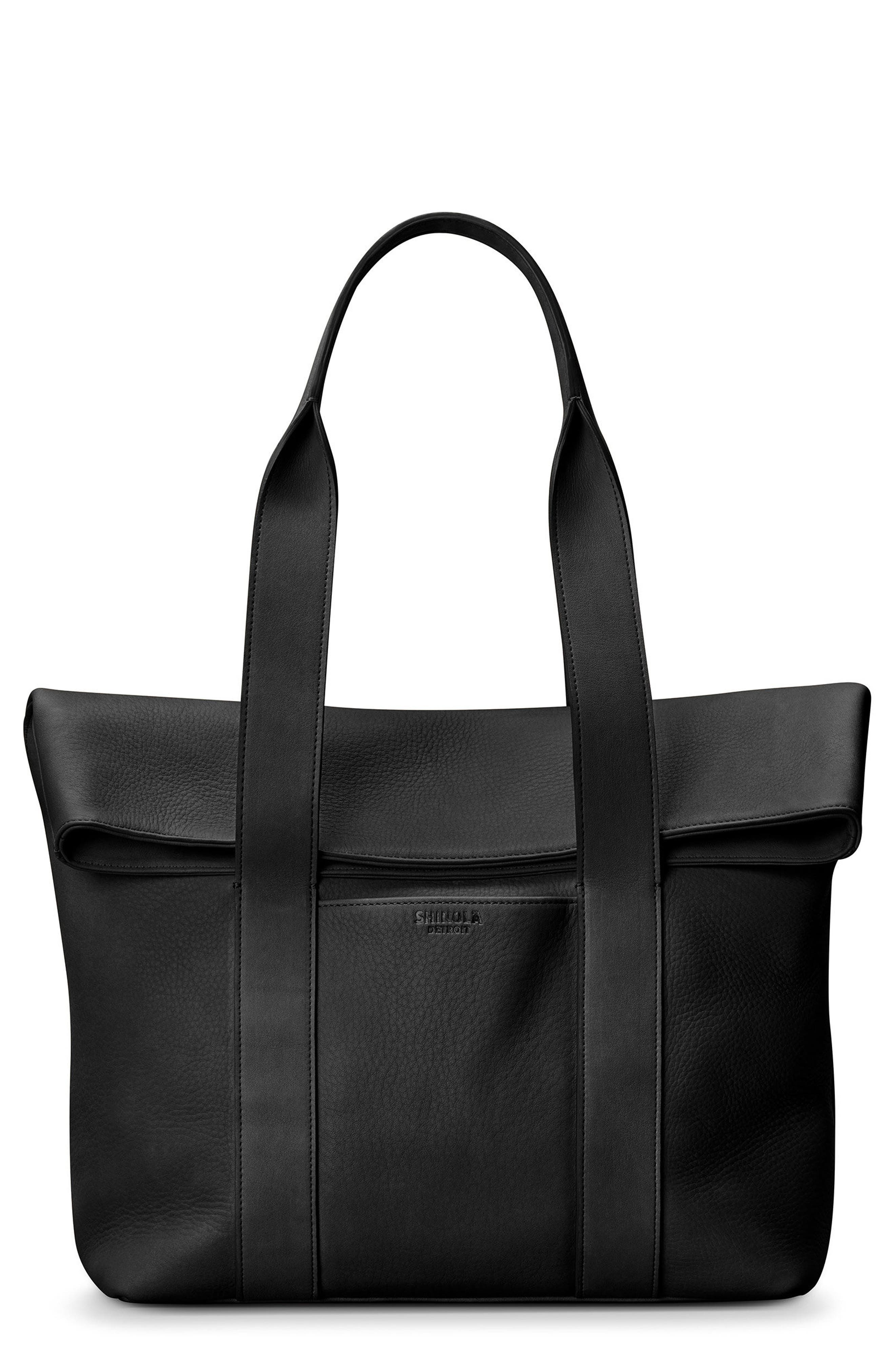 Cass Dearborn Leather Tote,                         Main,                         color, BLACK
