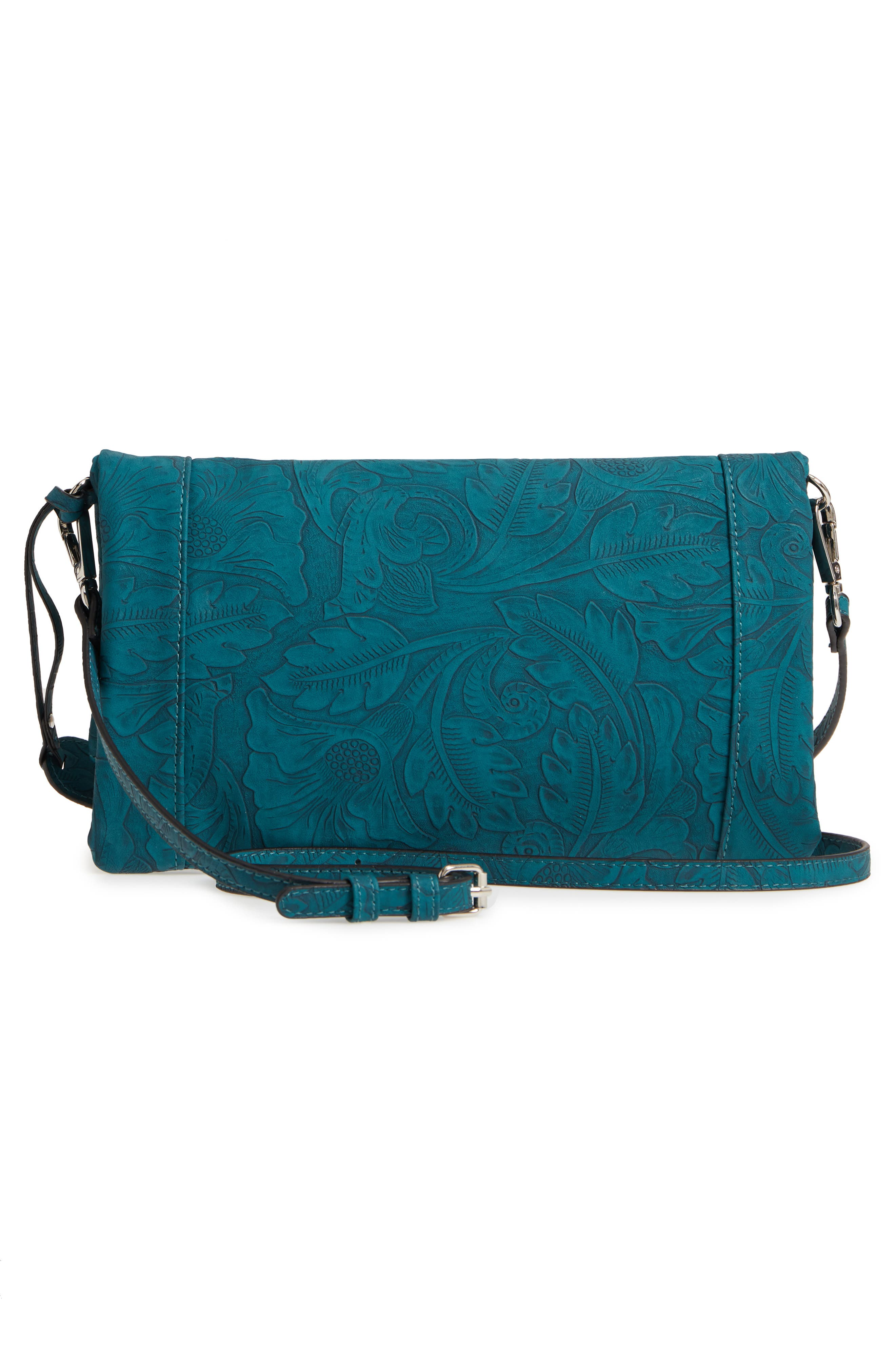 Tooled Faux Leather Foldover Clutch,                             Alternate thumbnail 3, color,                             400