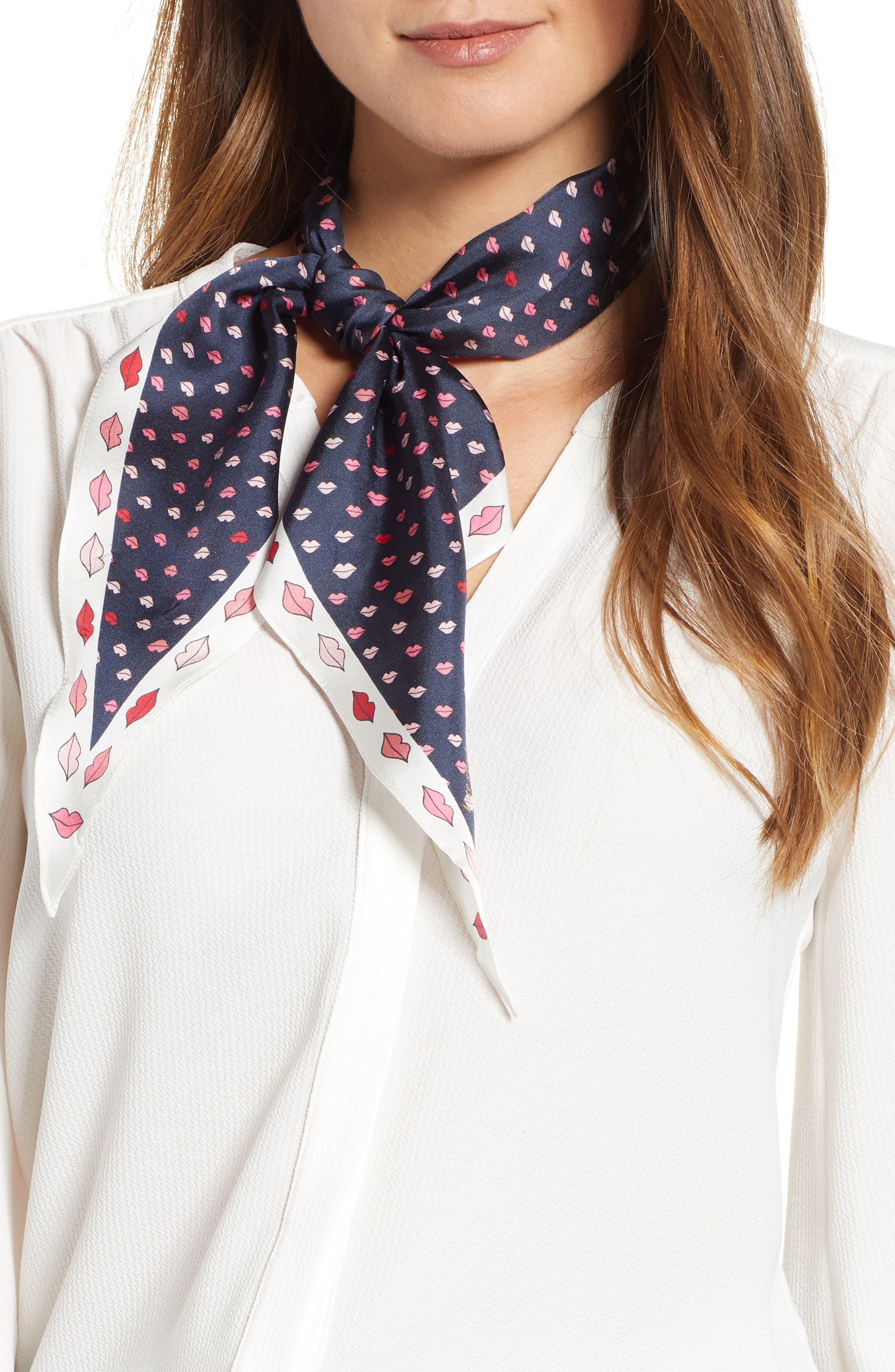 KATE SPADE NEW YORK lips diamond silk scarf, Main, color, PARISIAN NAVY