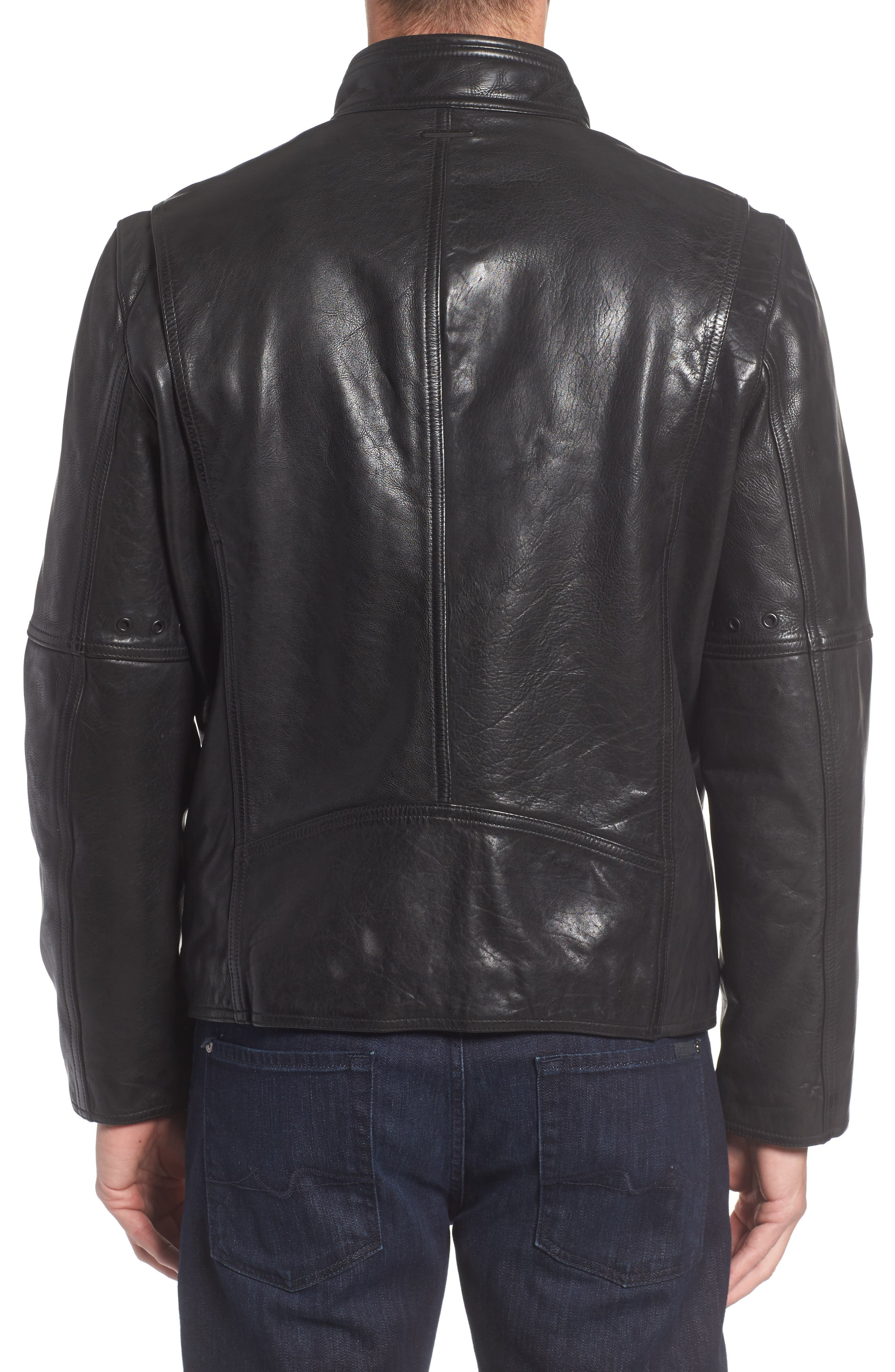 Calfskin Leather Moto Jacket,                             Alternate thumbnail 2, color,                             001