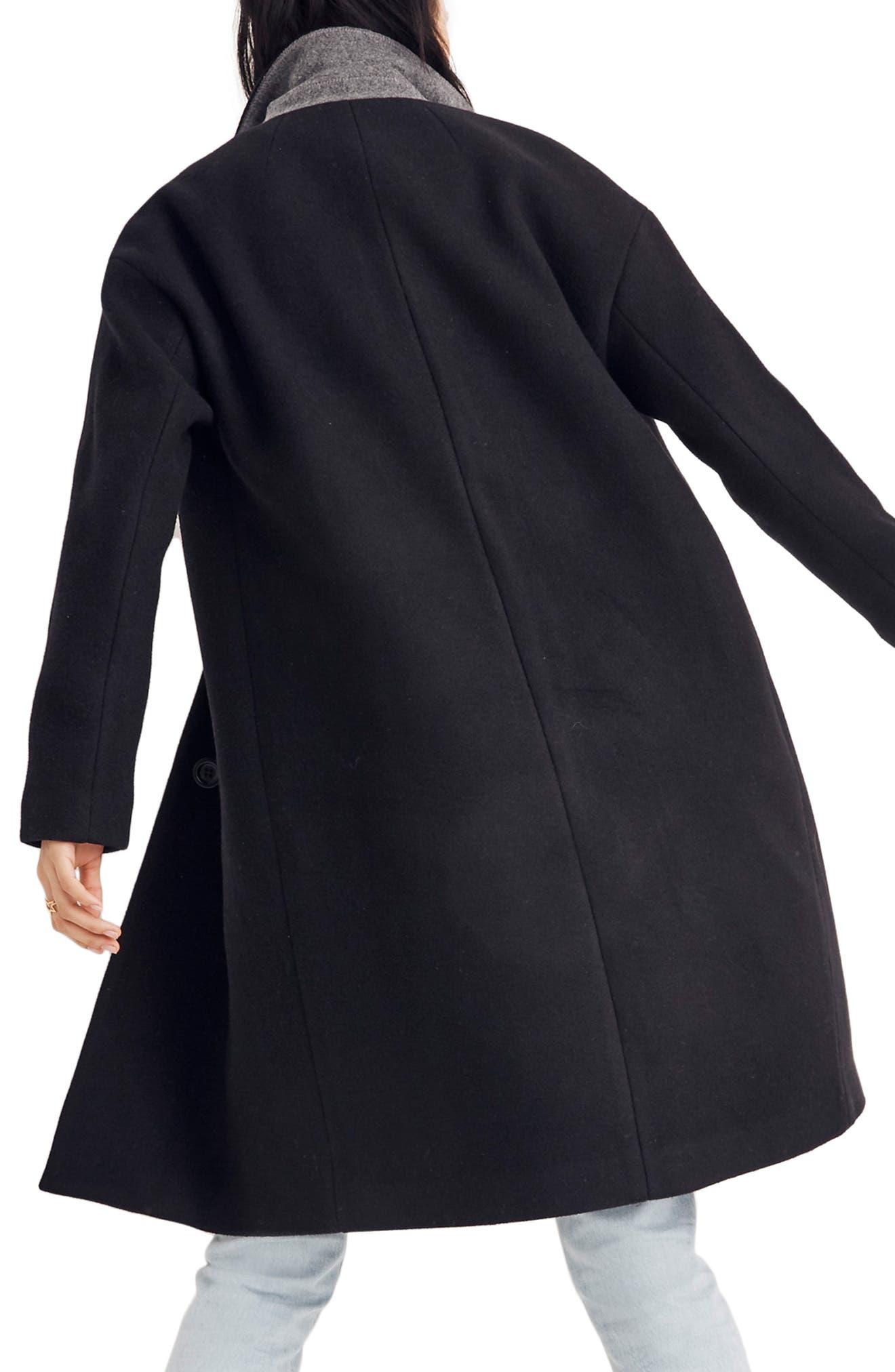 Bergen Cocoon Coat,                             Alternate thumbnail 2, color,                             TRUE BLACK