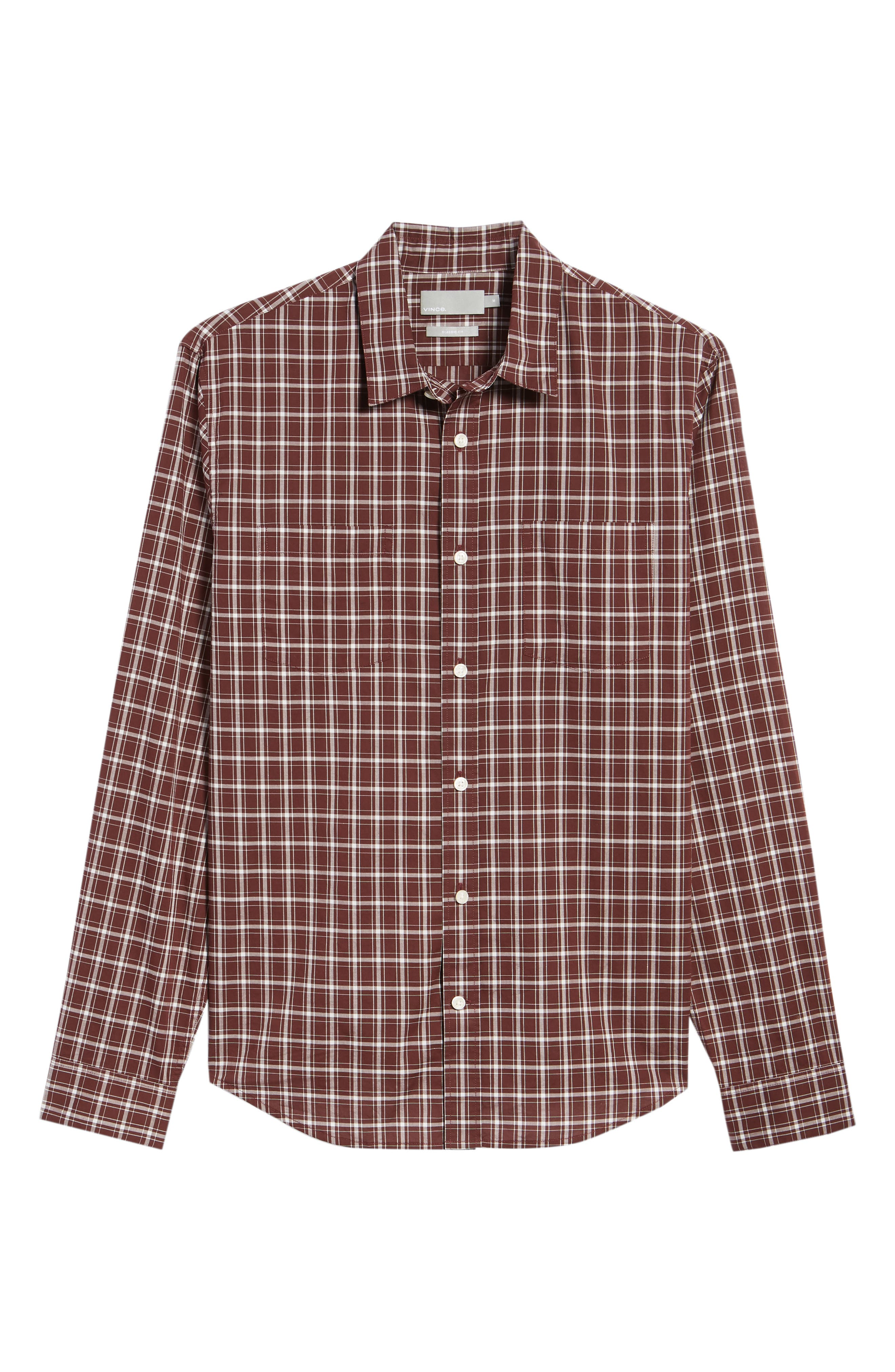 Classic Fit Plaid Sport Shirt,                             Alternate thumbnail 6, color,                             BLACK CHERRY