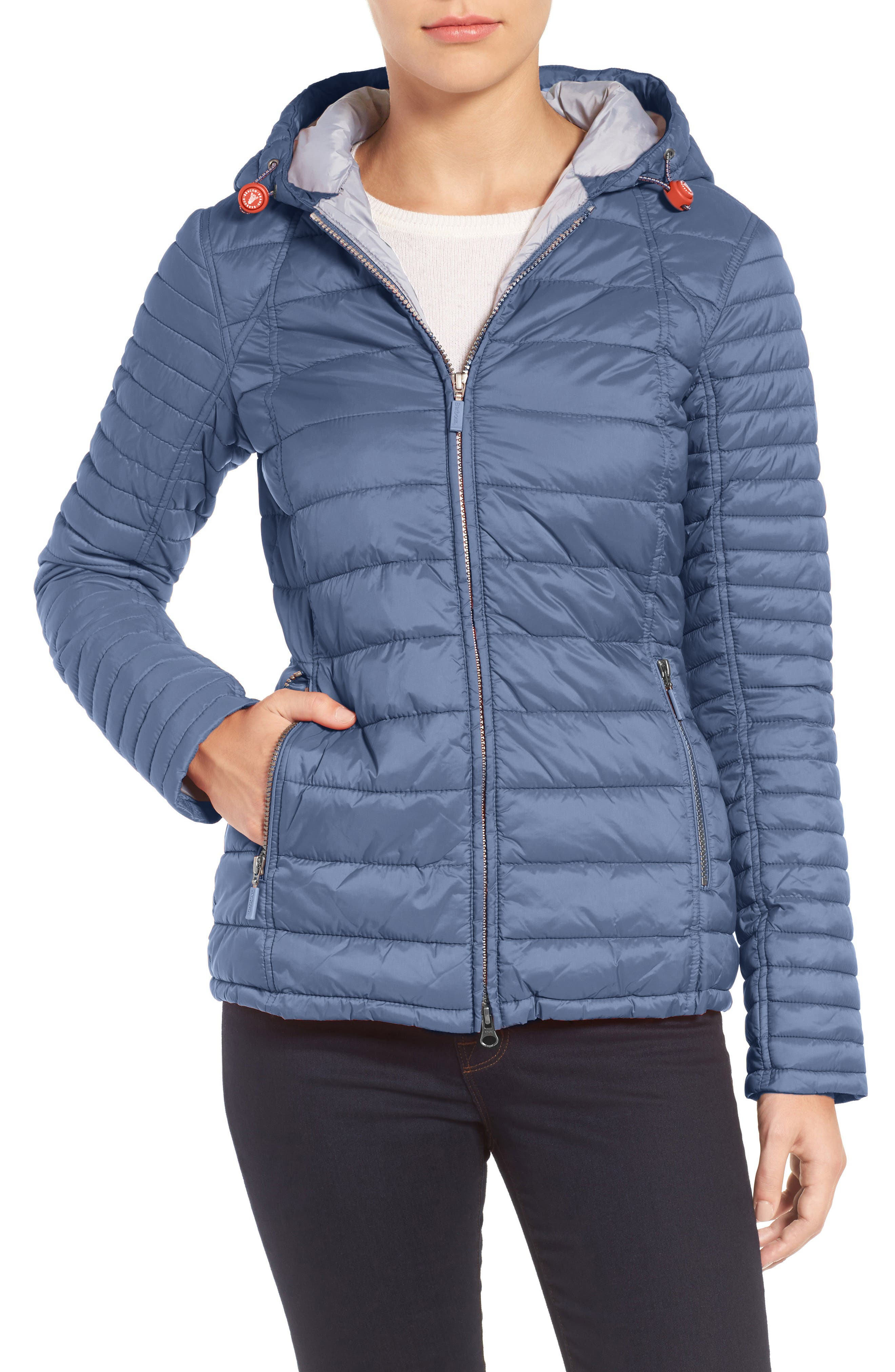 BARBOUR,                             Landry Hooded Quilted Jacket,                             Main thumbnail 1, color,                             021