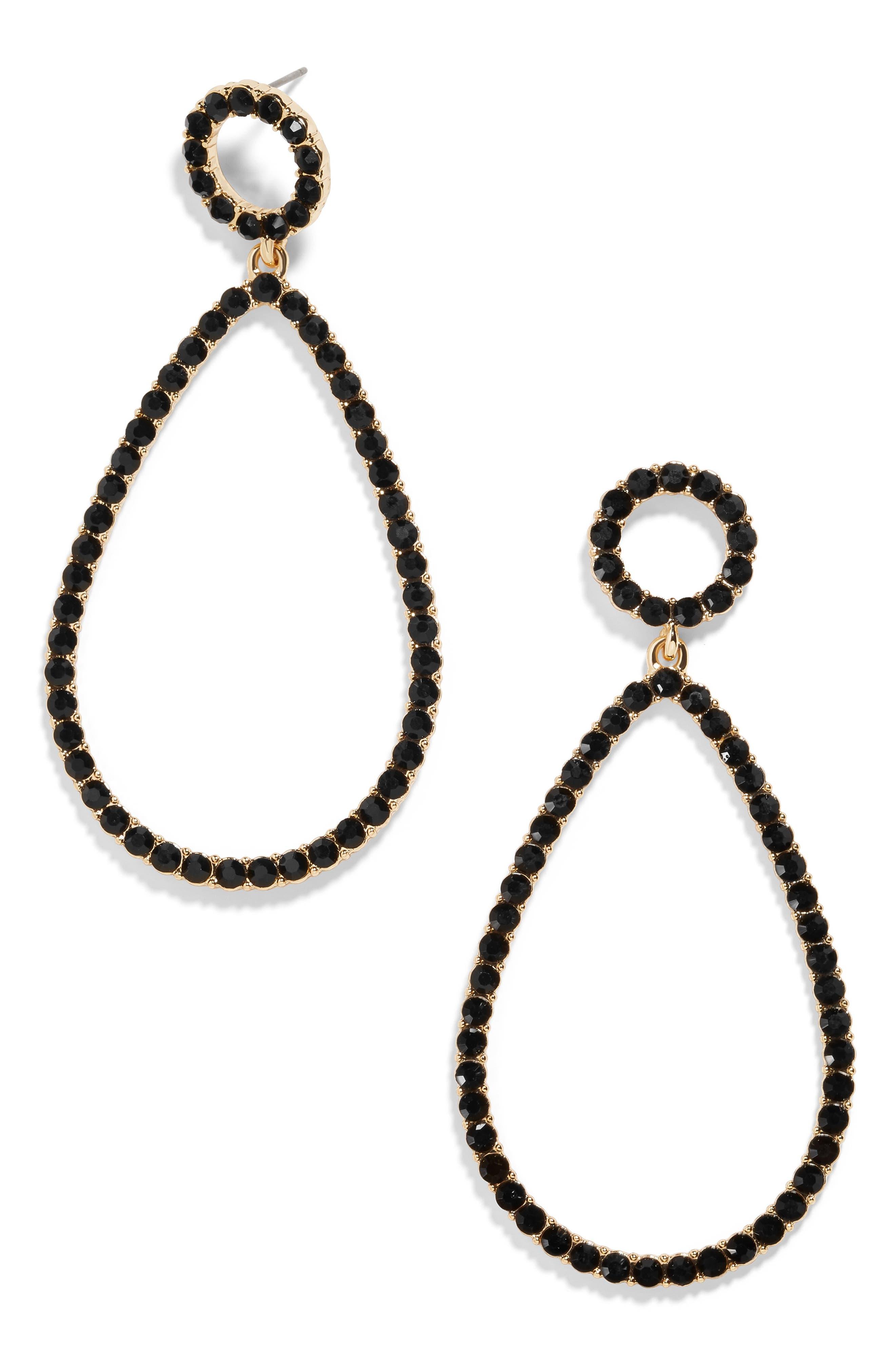 Eleni Teardrop Earrings,                         Main,                         color, BLACK