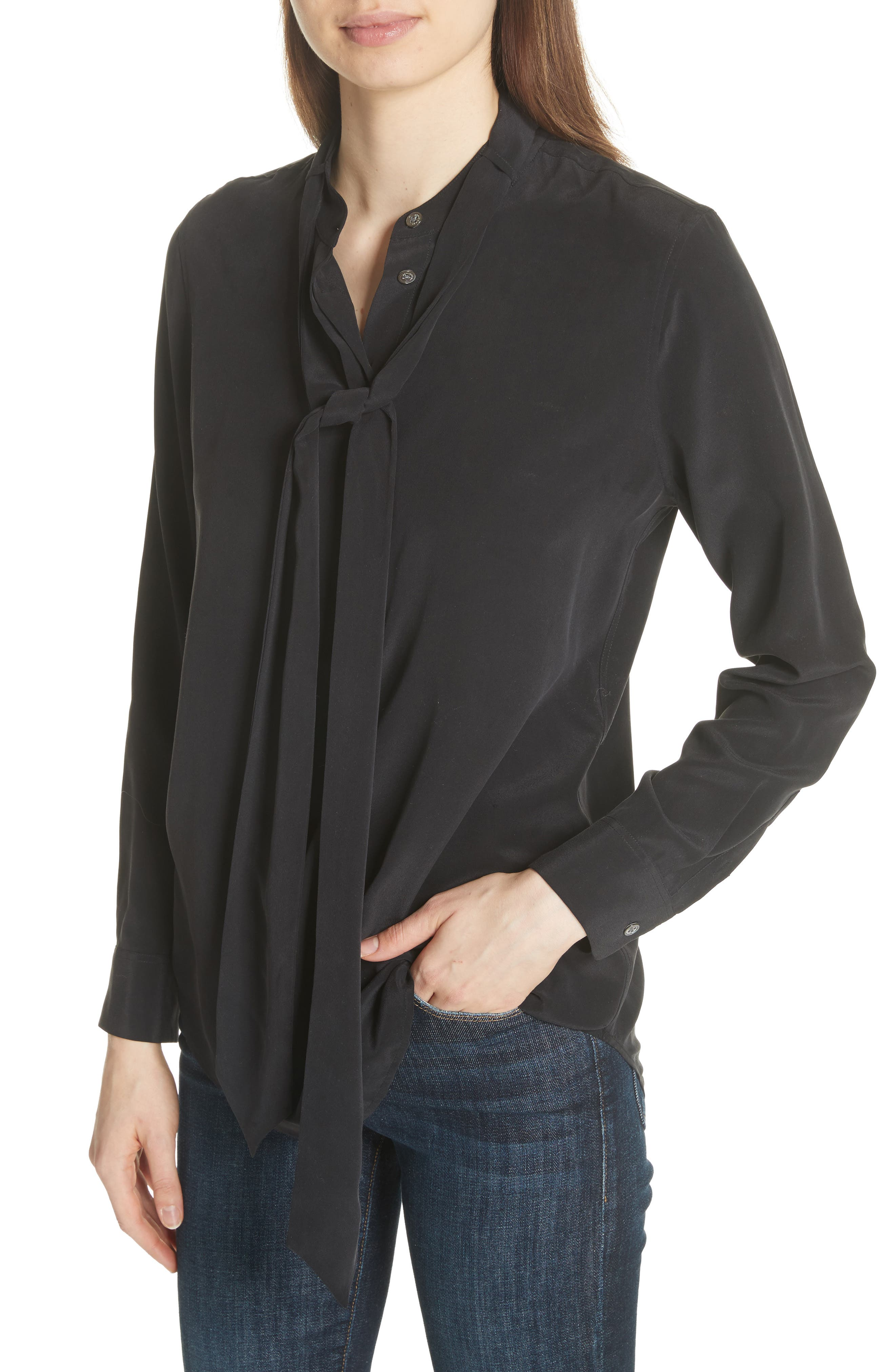 Carleen Tie Neck Silk Blouse,                             Alternate thumbnail 4, color,                             003