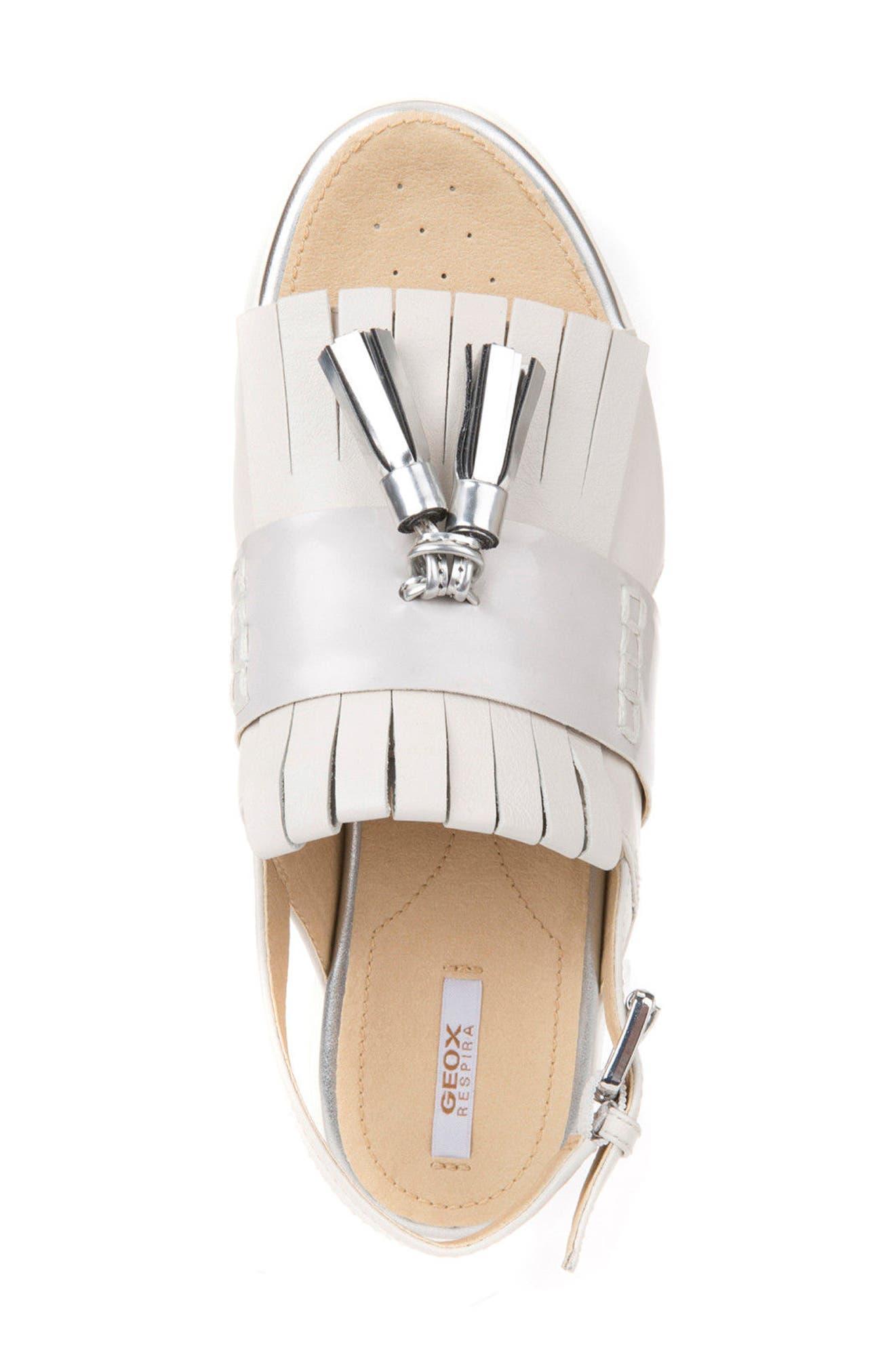 Amalitha Platform Sandal,                             Alternate thumbnail 4, color,                             OFF WHITE LEATHER
