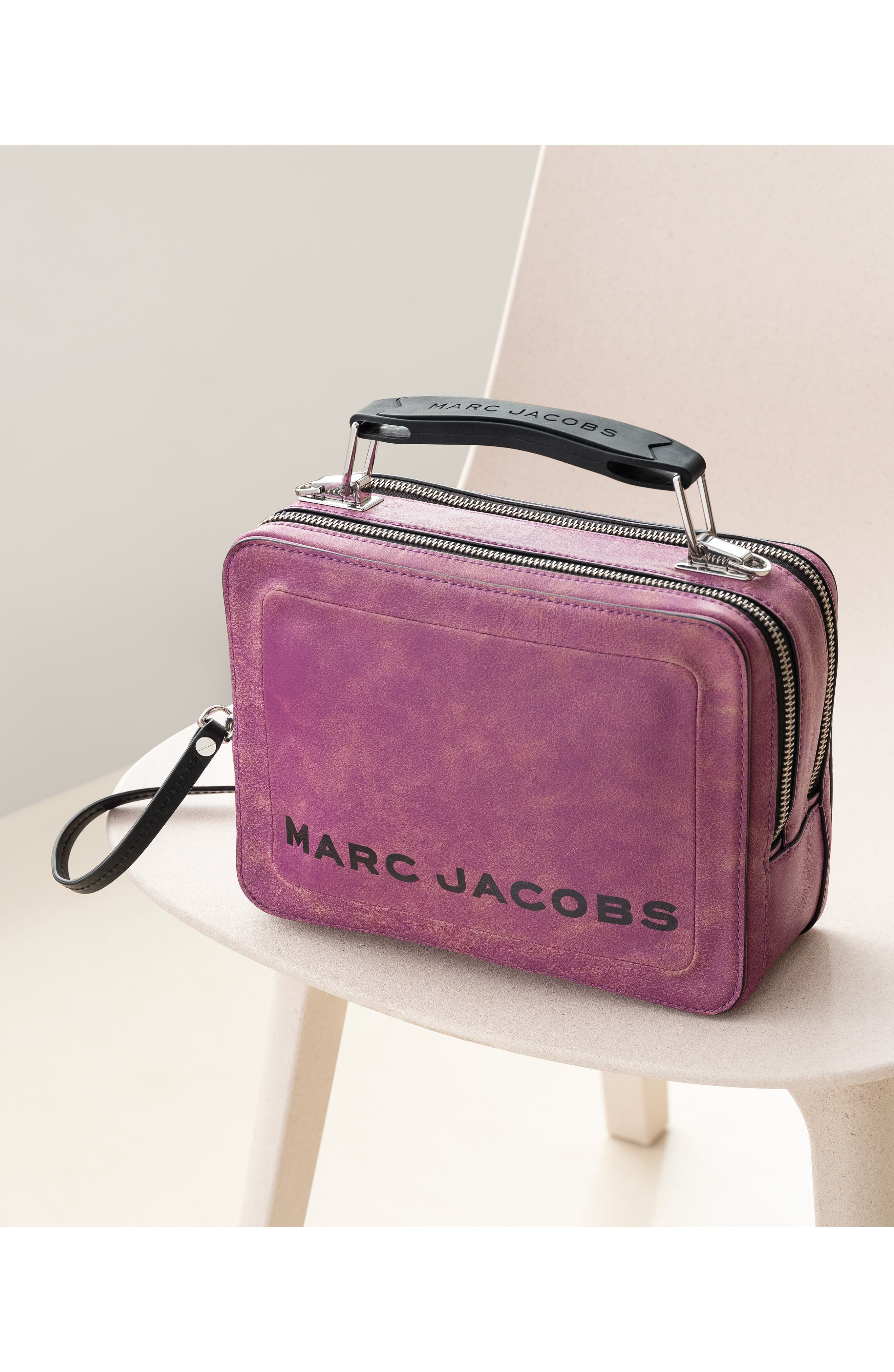 The Box Leather Handbag,                             Alternate thumbnail 4, color,                             PEONY