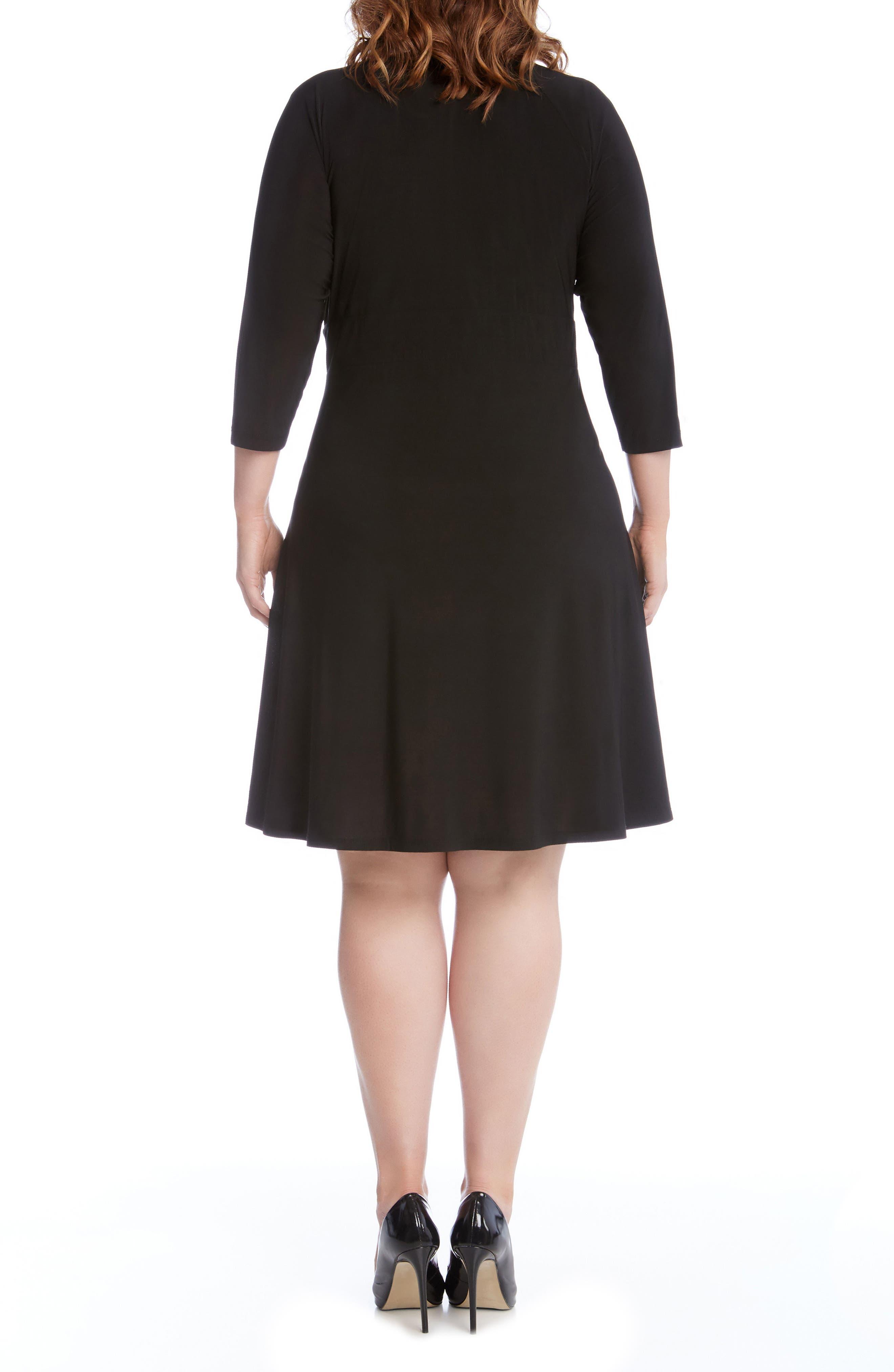 Jersey Cascade Faux Wrap Dress,                             Alternate thumbnail 2, color,                             001