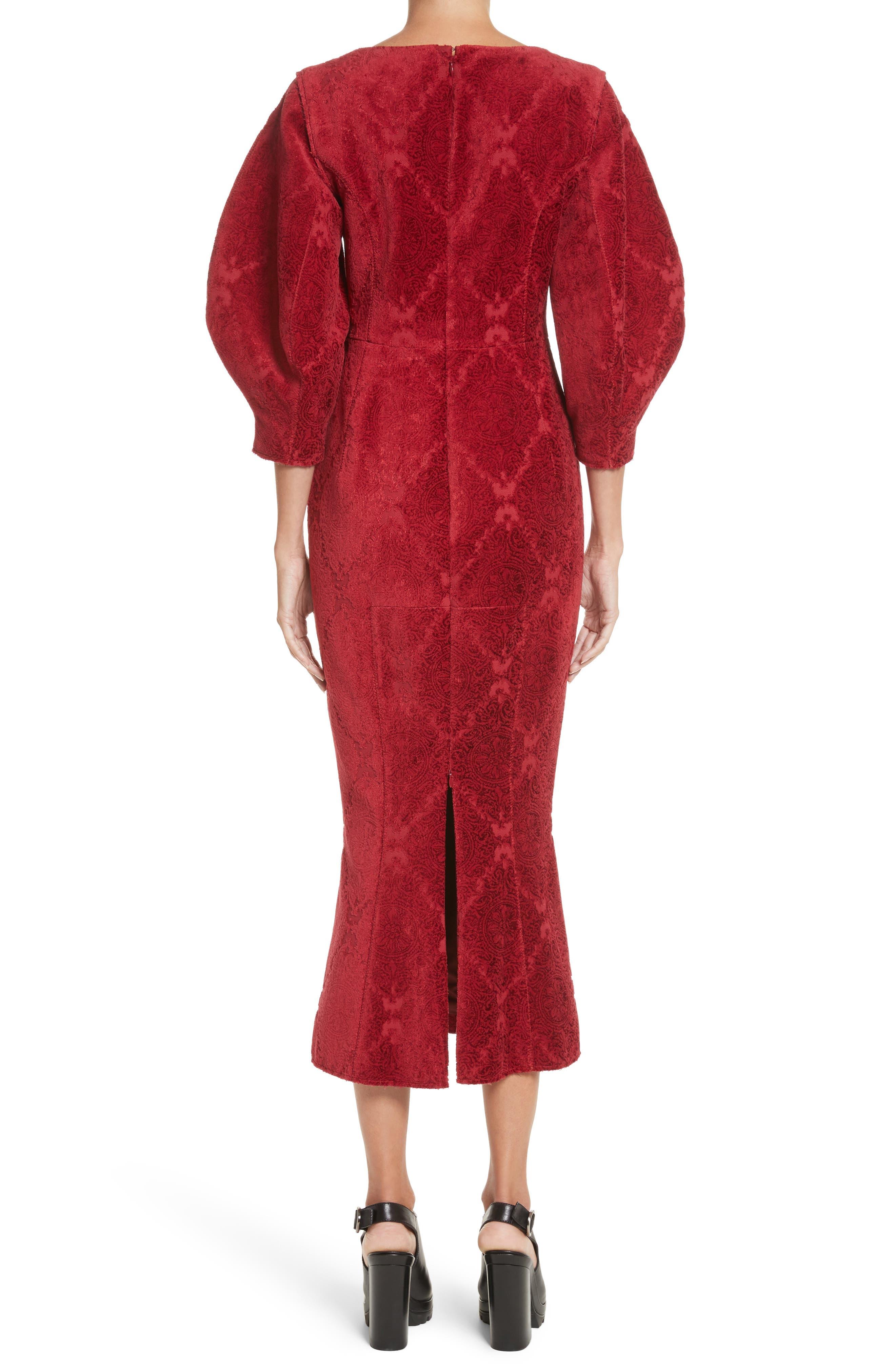 Detachable Sleeve Flocked Velvet Dress,                             Alternate thumbnail 2, color,                             600