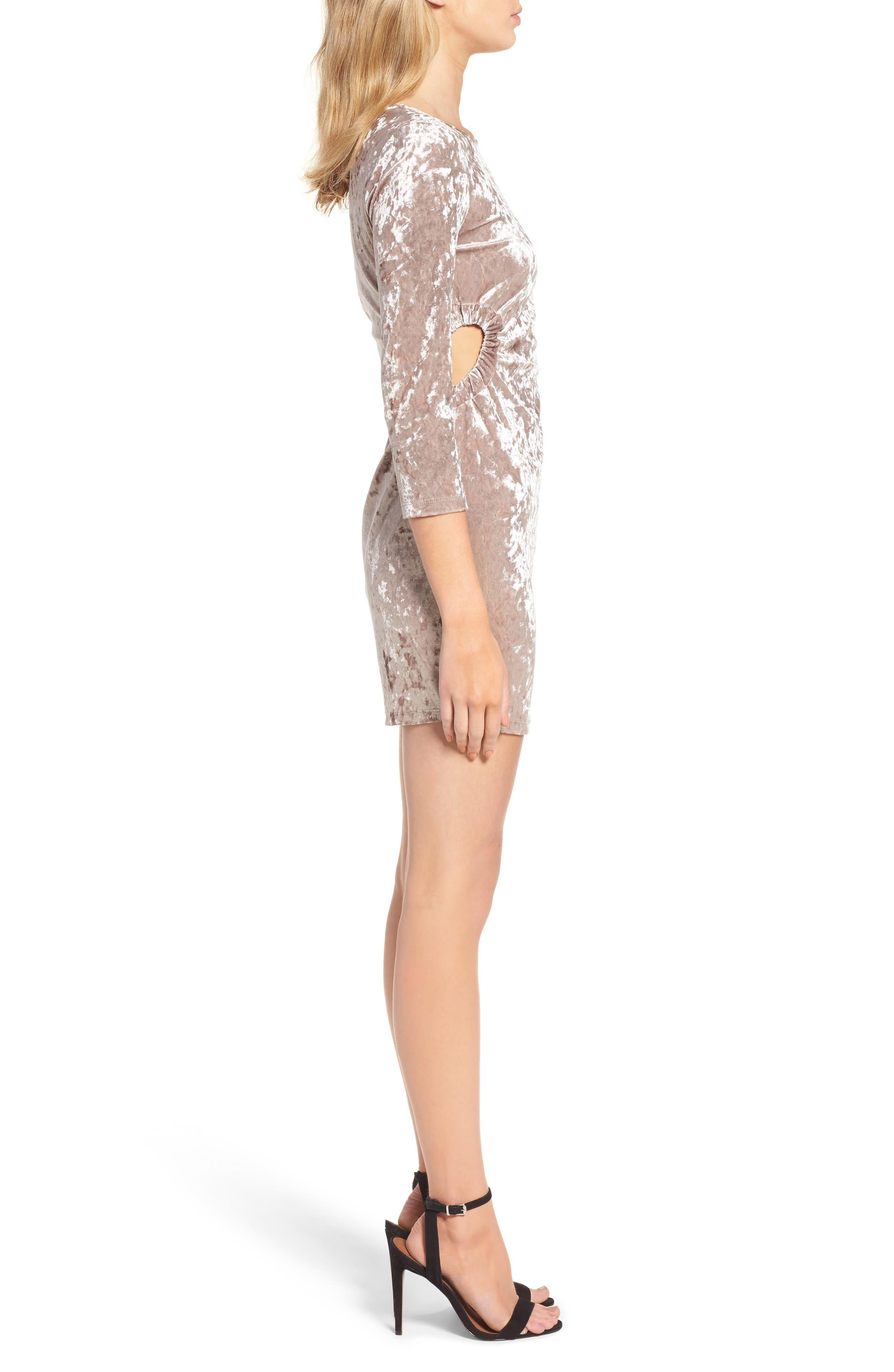 Cutout Velvet Dress,                             Alternate thumbnail 3, color,                             021