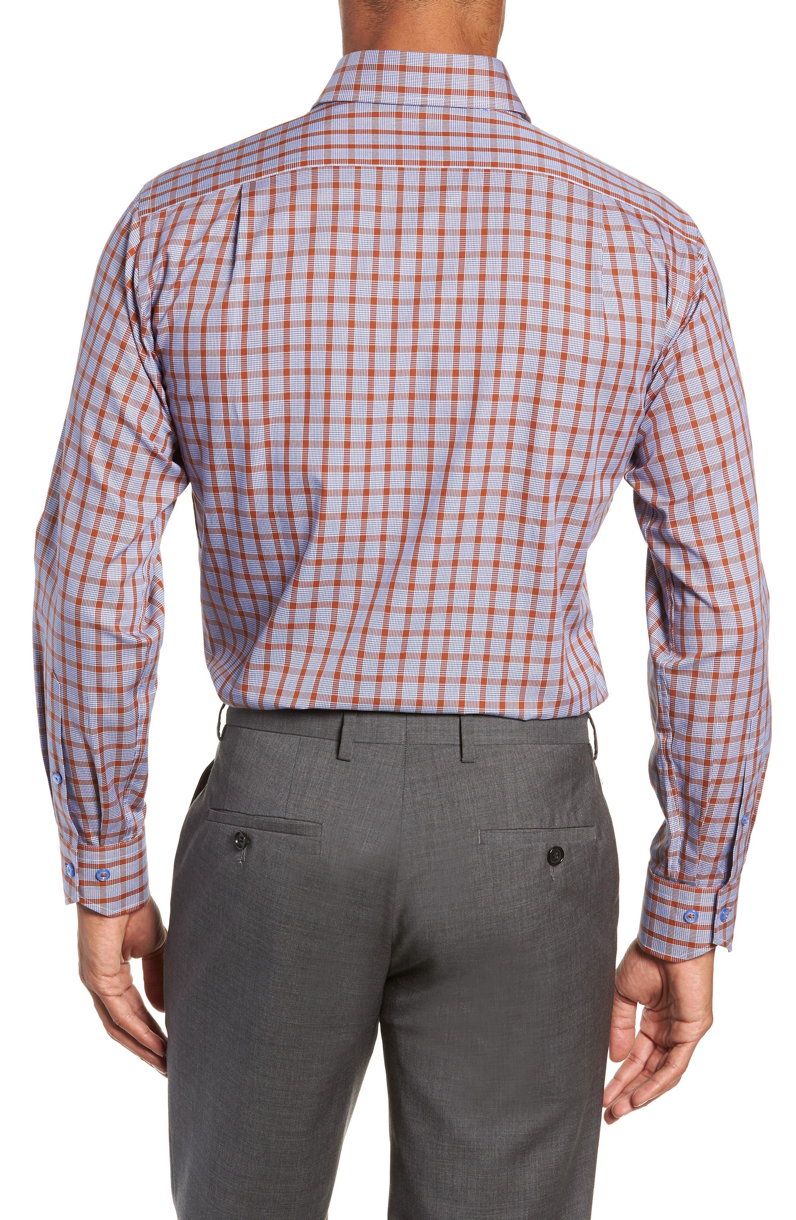 Trim Fit Plaid Dress Shirt,                             Alternate thumbnail 3, color,                             430