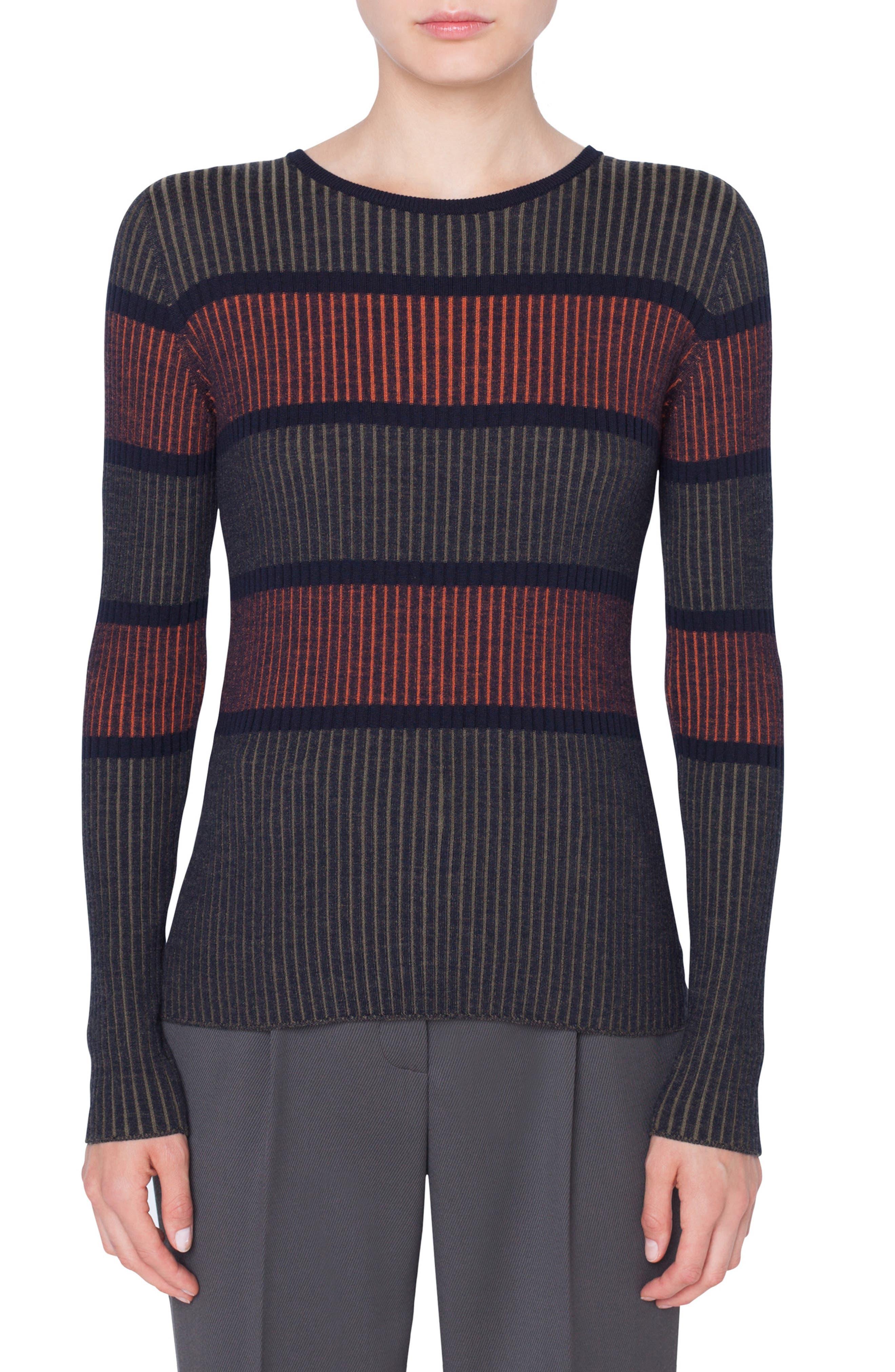 Akris Punto Stripe Merino Wool Pullover, Black
