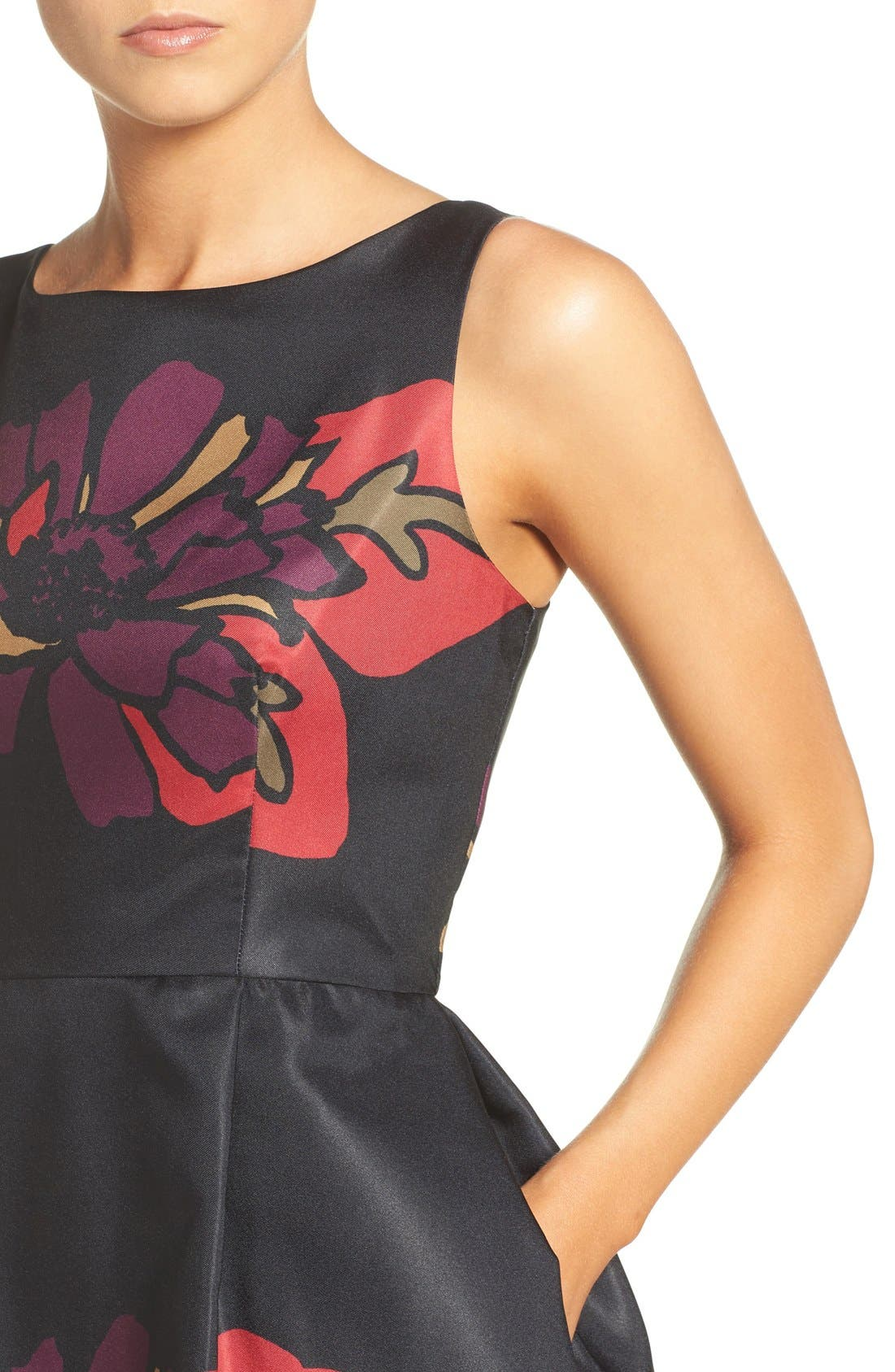 Placed Floral Fit & Flare Dress,                             Alternate thumbnail 6, color,                             011