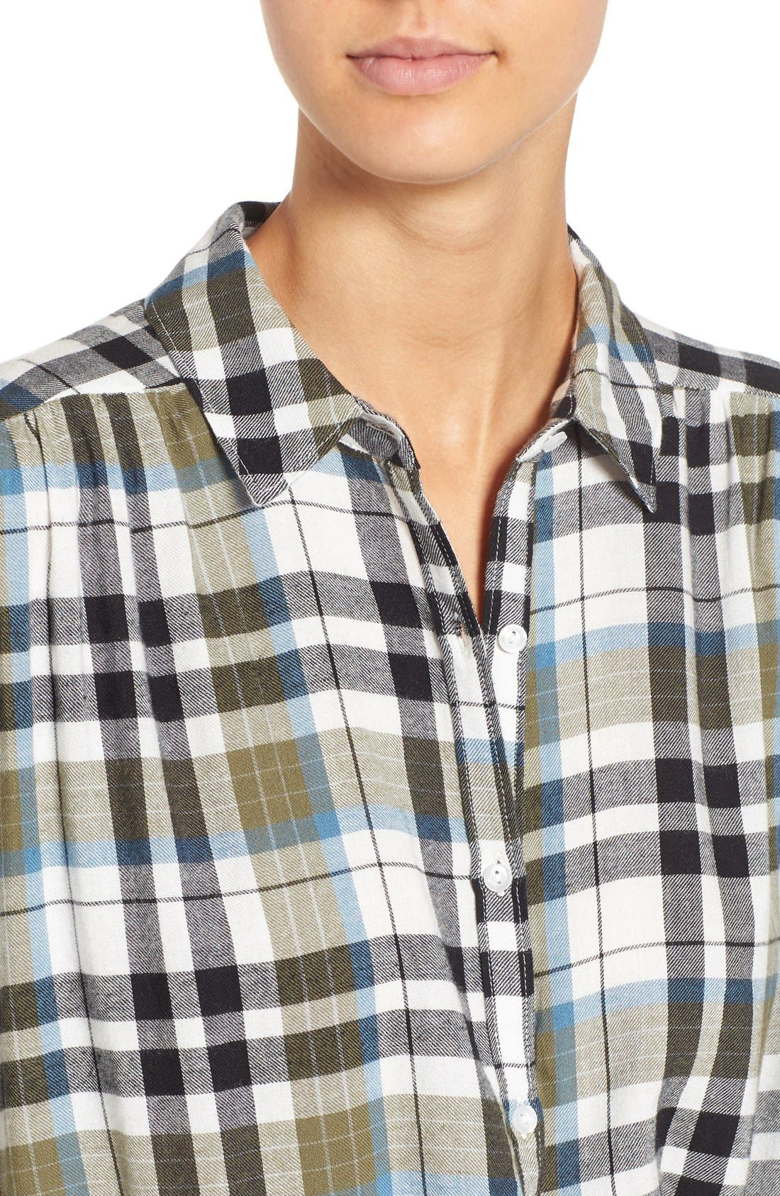 Twist Front Plaid Shirt,                             Alternate thumbnail 3, color,                             315