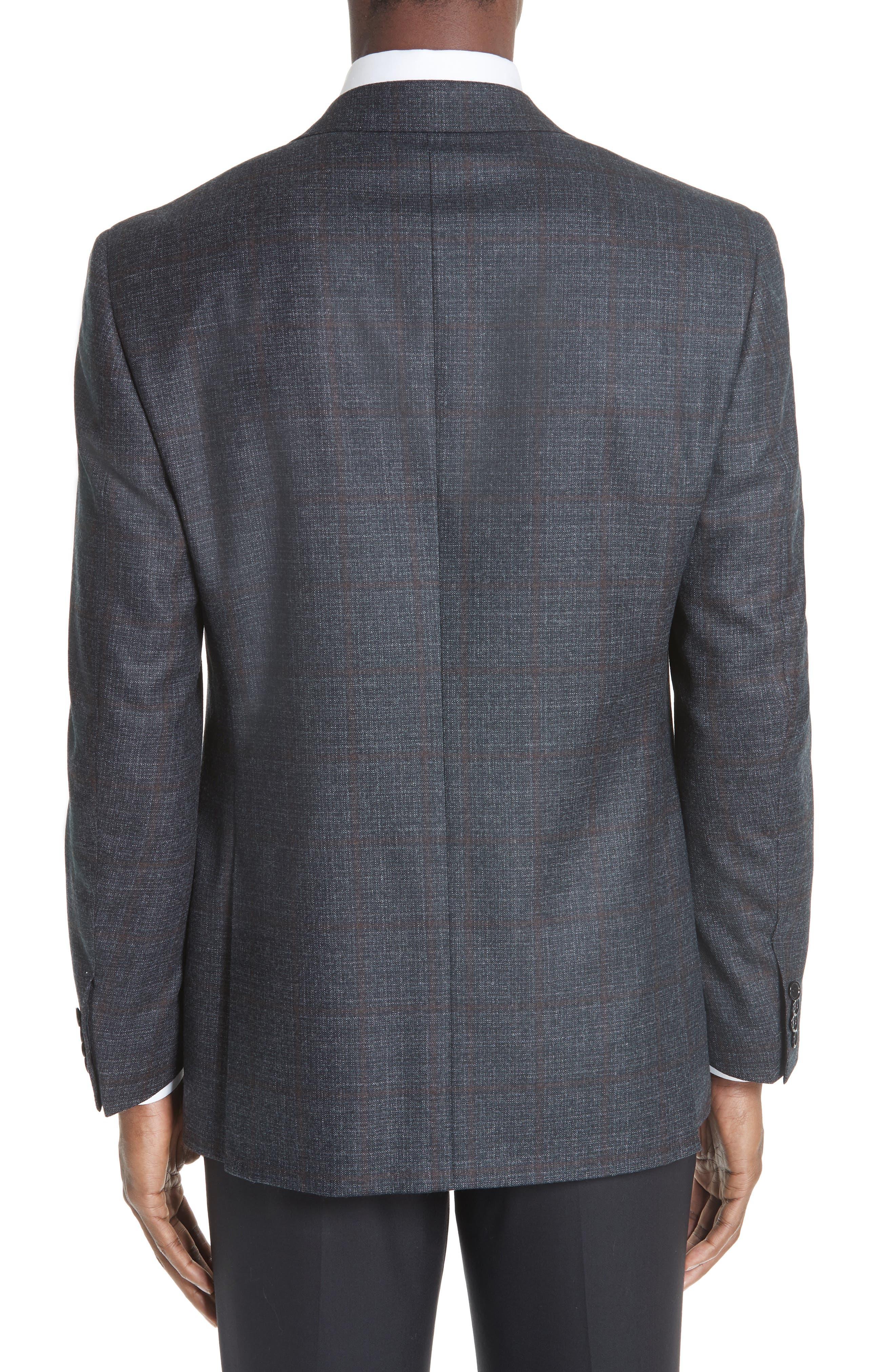 Classic Fit Plaid Wool Sport Coat,                             Alternate thumbnail 2, color,                             CHARCOAL