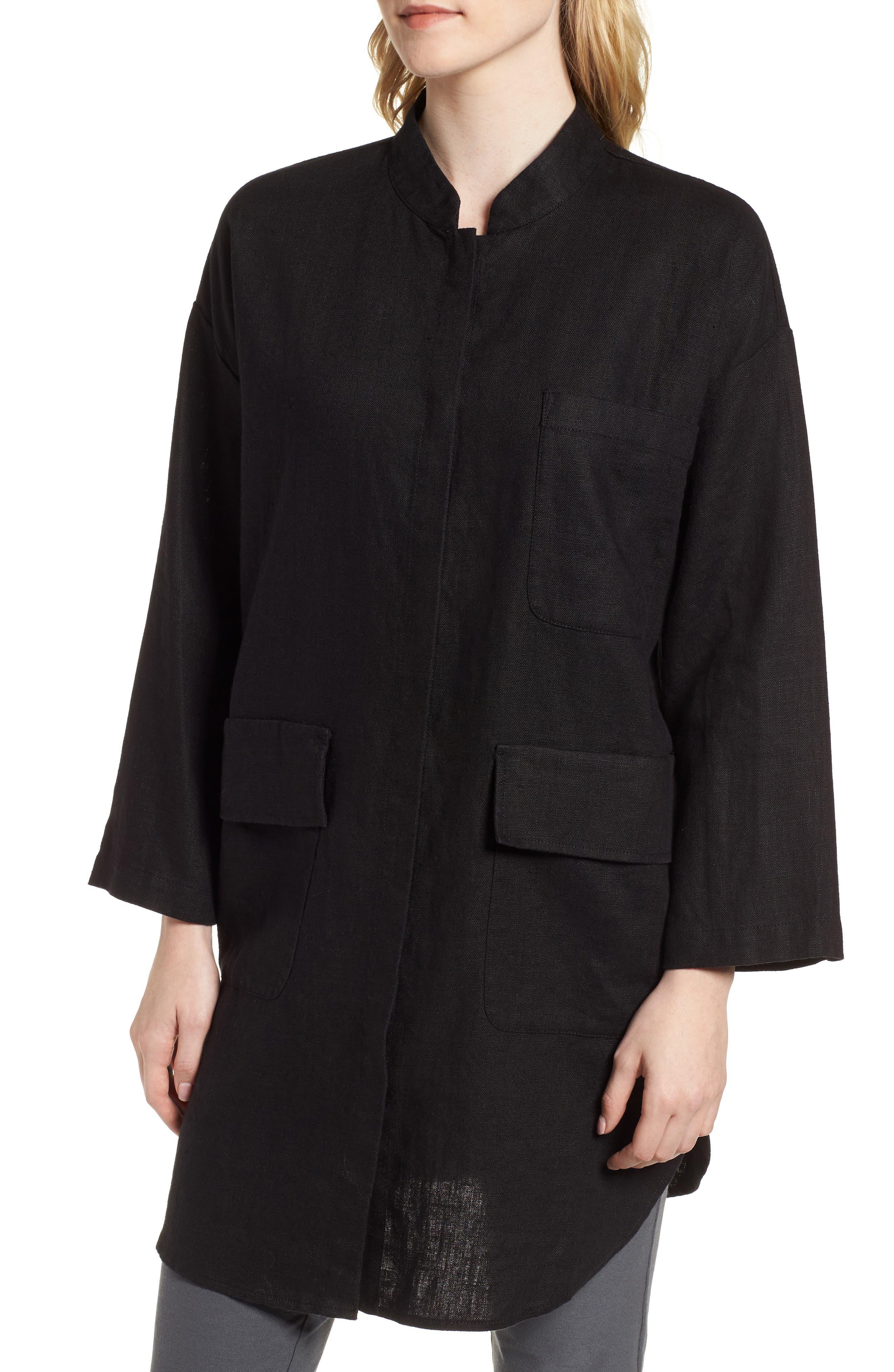 Organic Linen Jacket,                             Alternate thumbnail 4, color,                             001