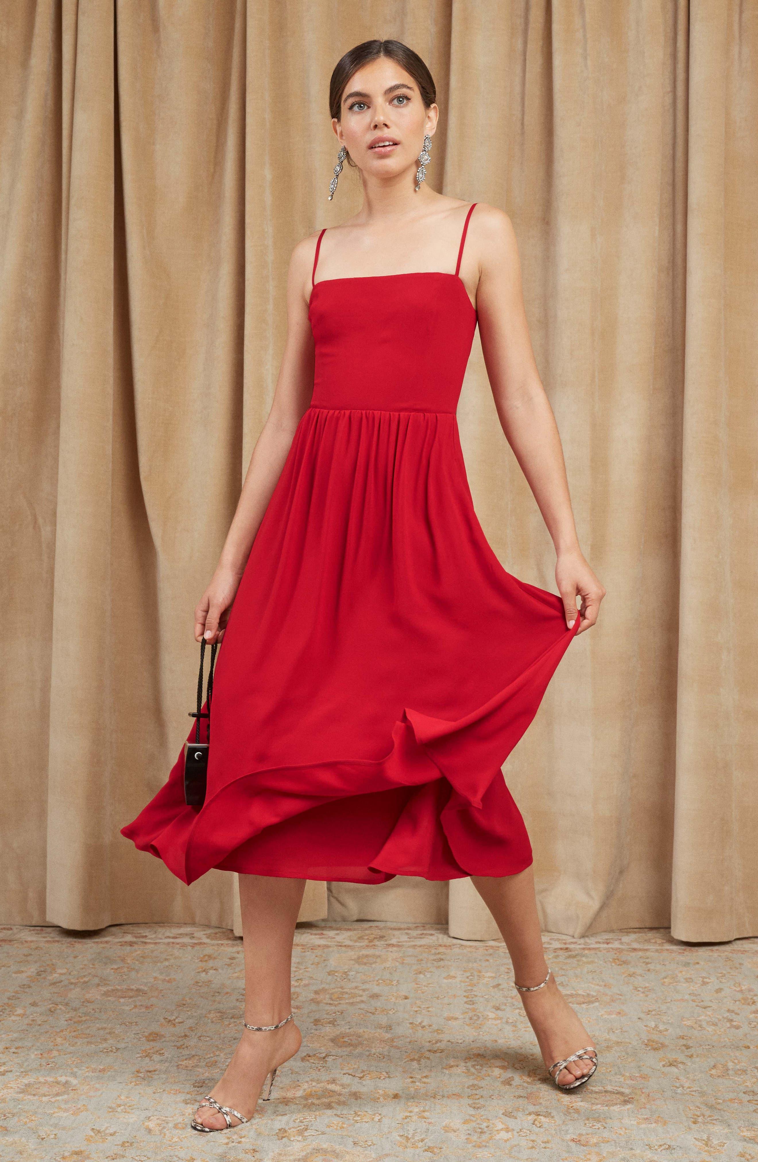 Rosehip Fit & Flare Dress,                             Alternate thumbnail 2, color,                             LIPSTICK