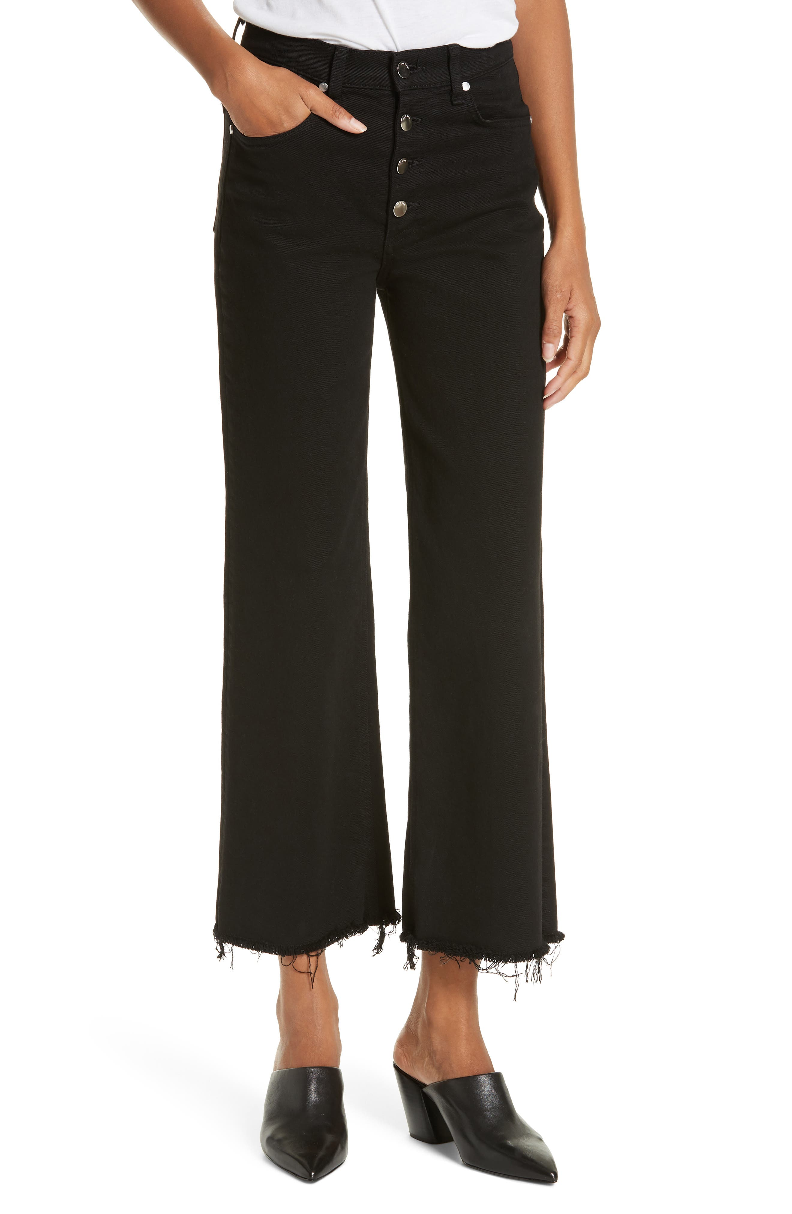 RAG & BONE Justine High Waist Cutoff Wide Leg Jeans, Main, color, BLACK