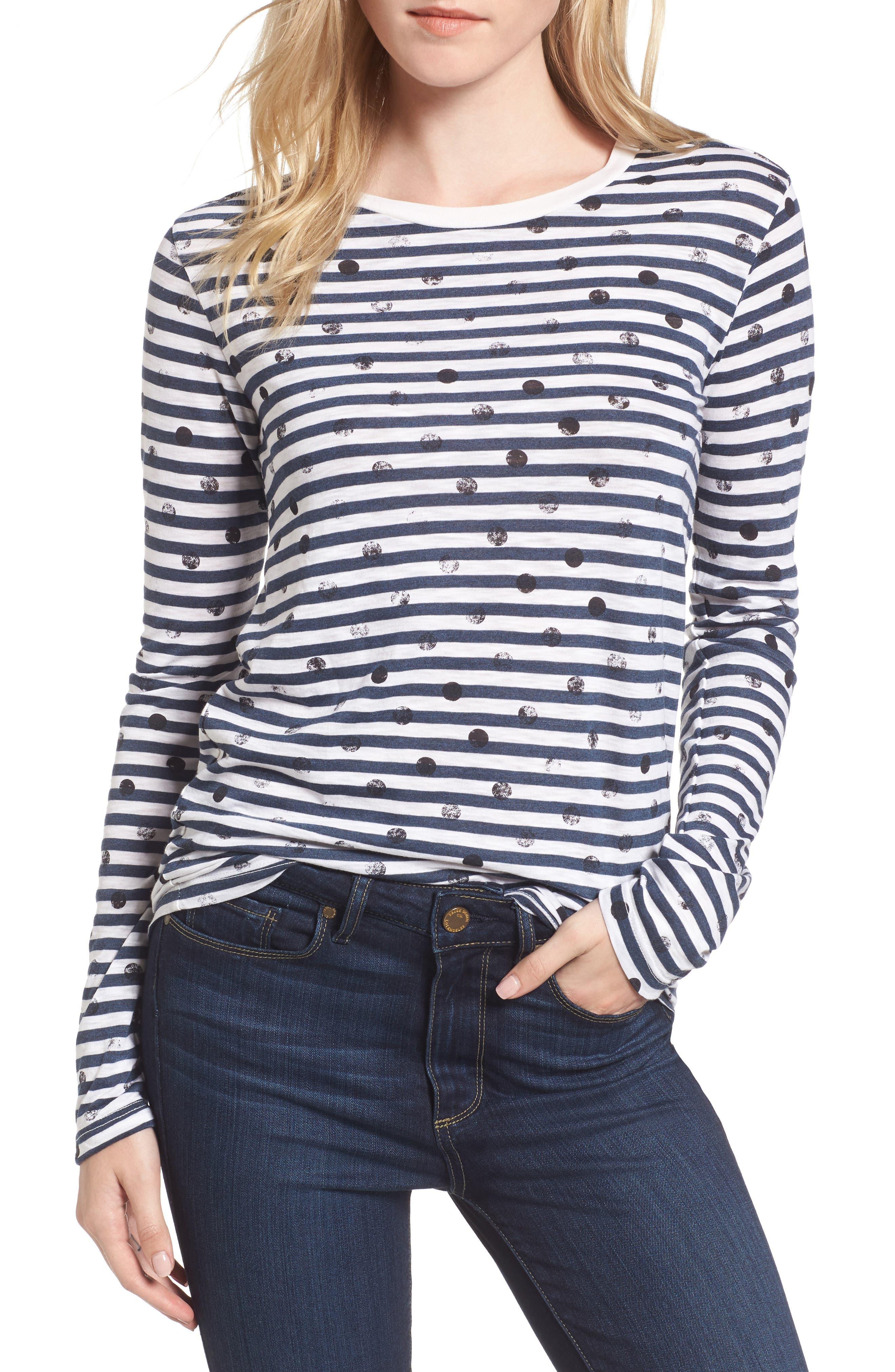 Stripe Polka Dot Tee,                         Main,                         color, 900