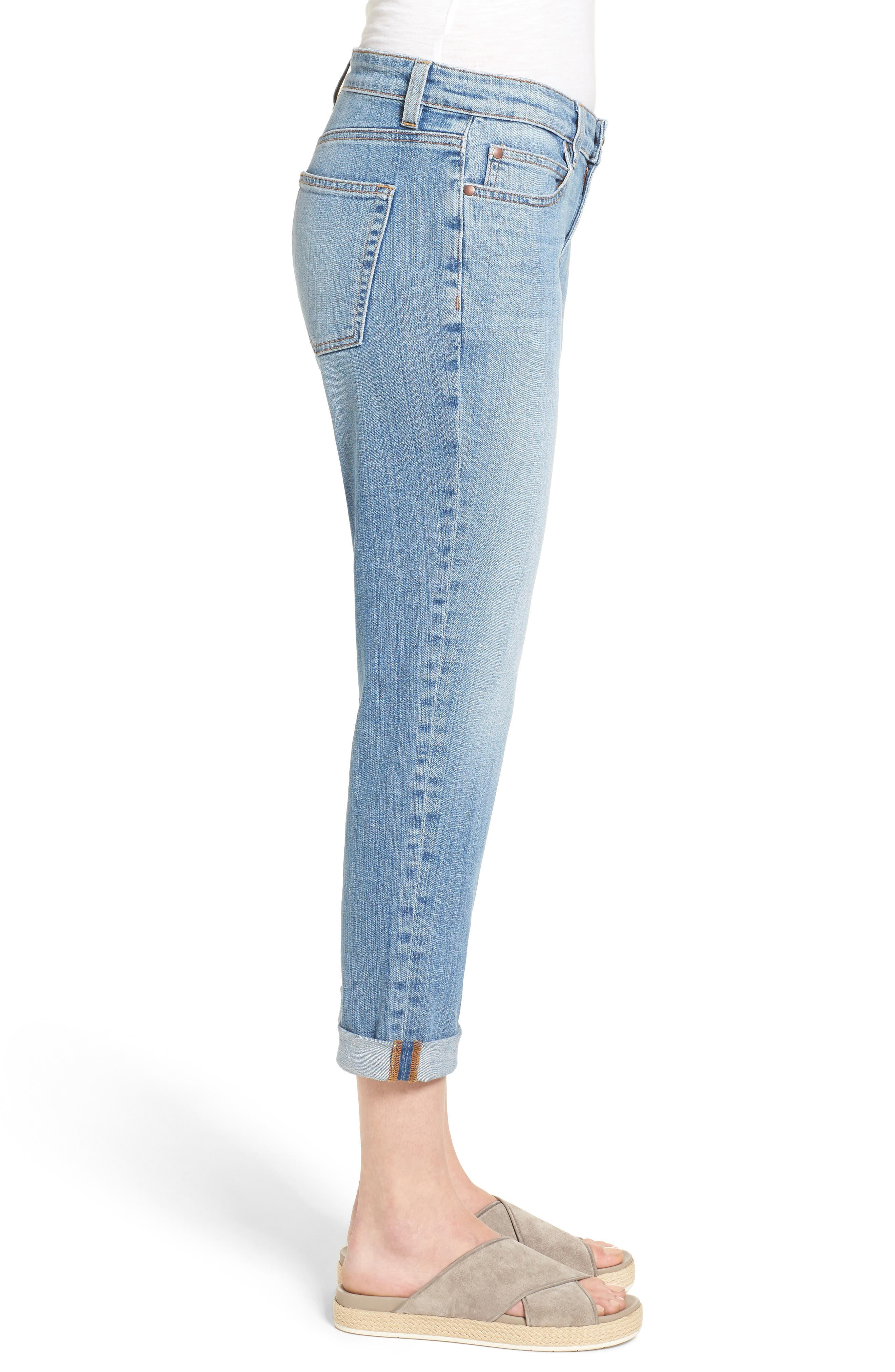 Organic Cotton Boyfriend Jeans,                             Alternate thumbnail 3, color,                             SKY BLUE