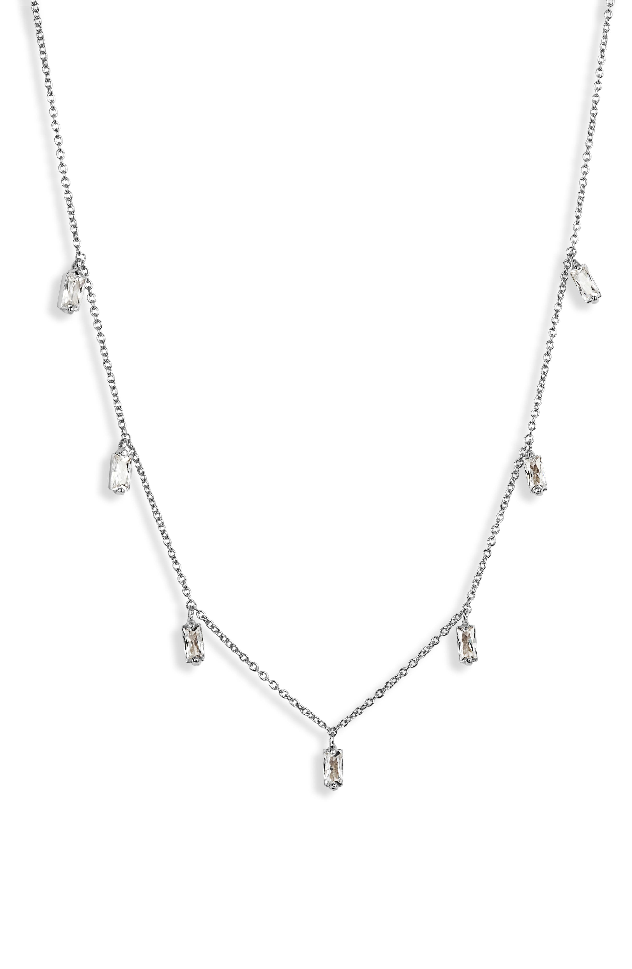 Amara Crystal Fringe Necklace, Main, color, SILVER
