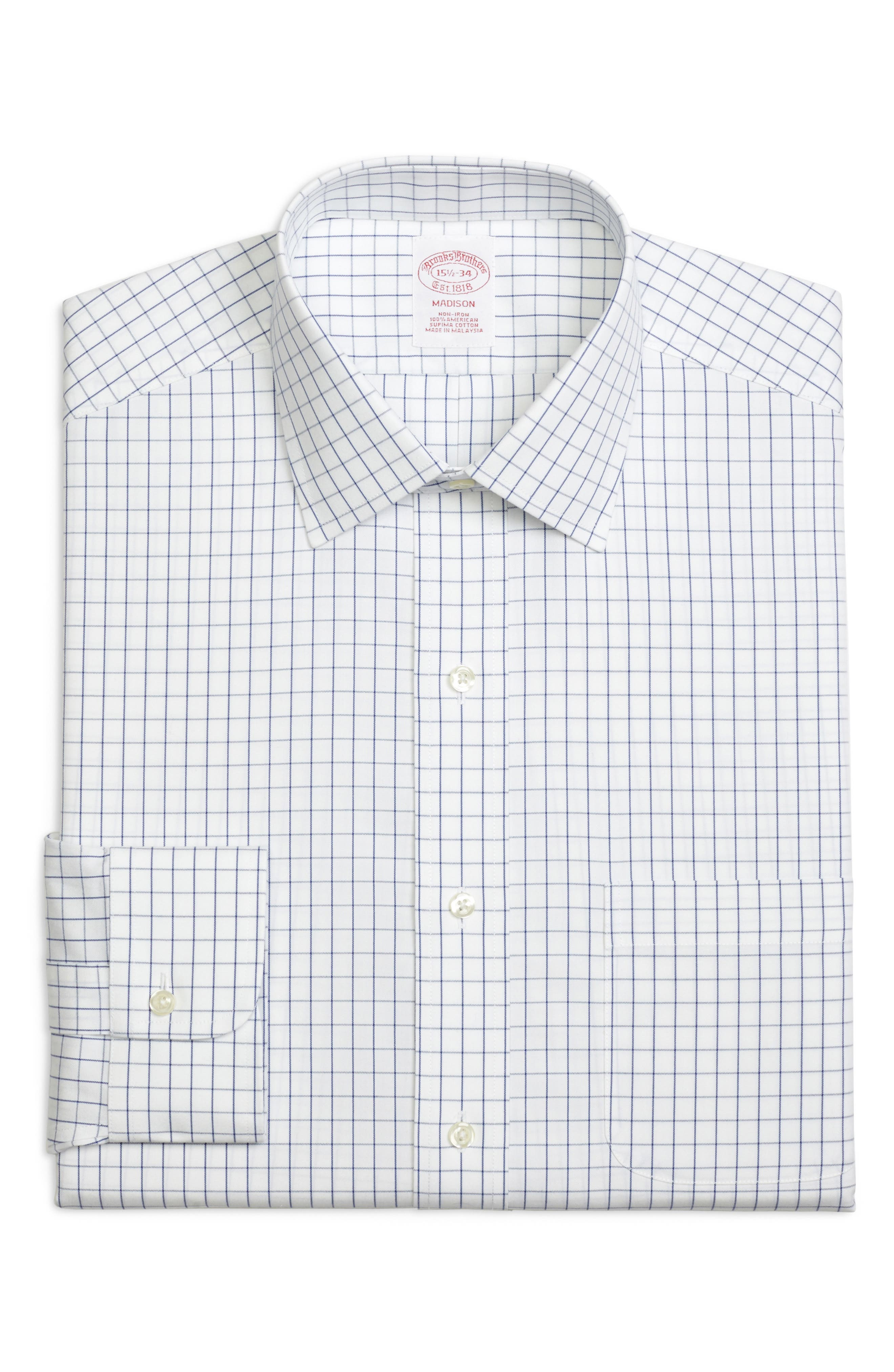 Classic Fit Check Dress Shirt,                         Main,                         color, BLUE