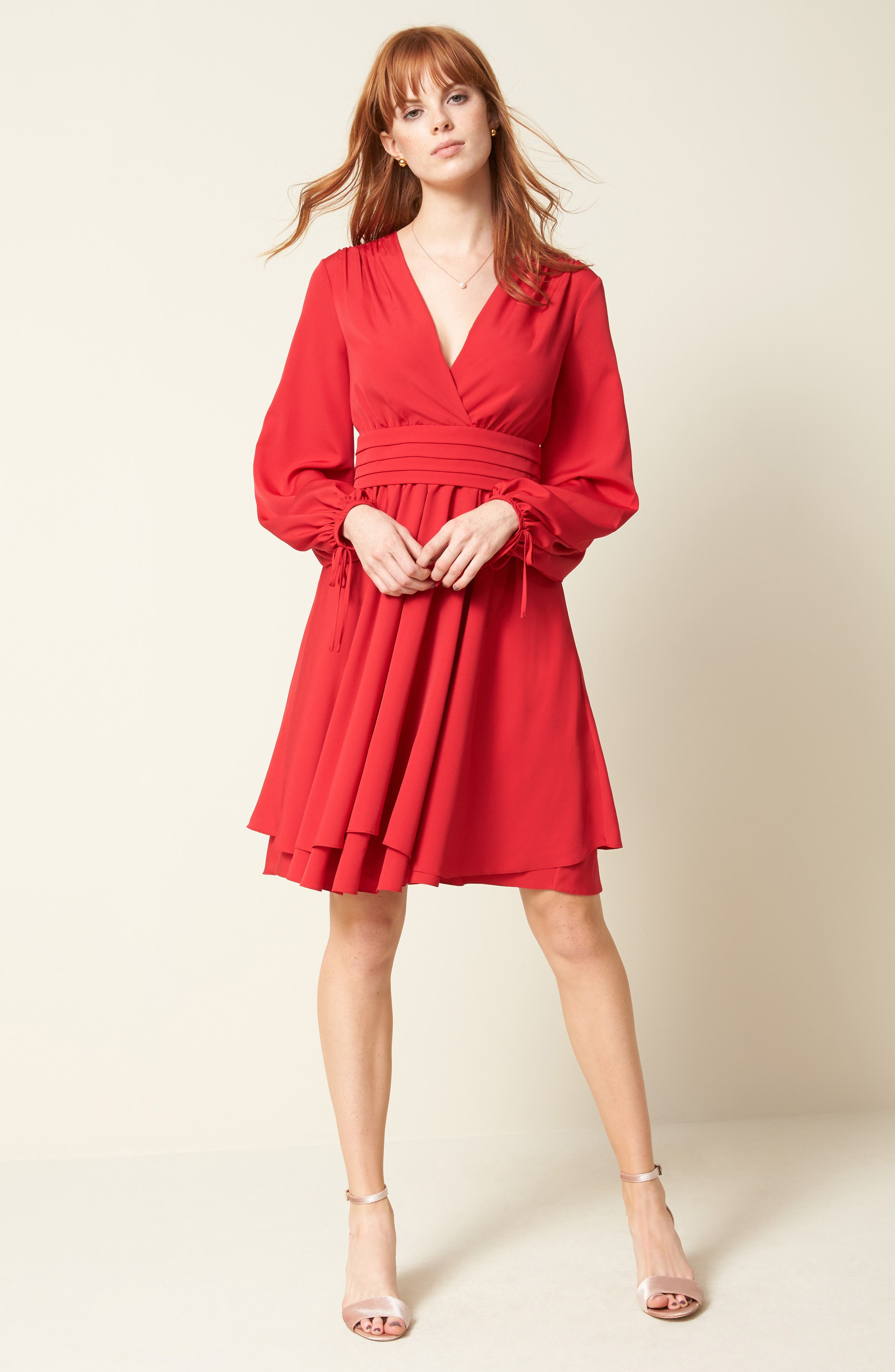 Tie Sleeve Fit & Flare Dress,                             Alternate thumbnail 7, color,                             610
