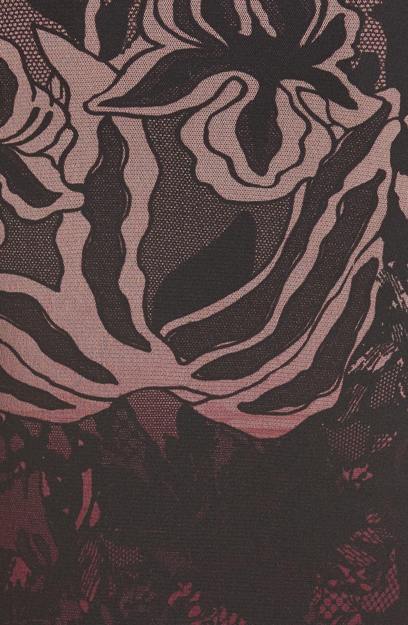 Cold Shoulder Tulle Turtleneck Dress,                             Alternate thumbnail 5, color,